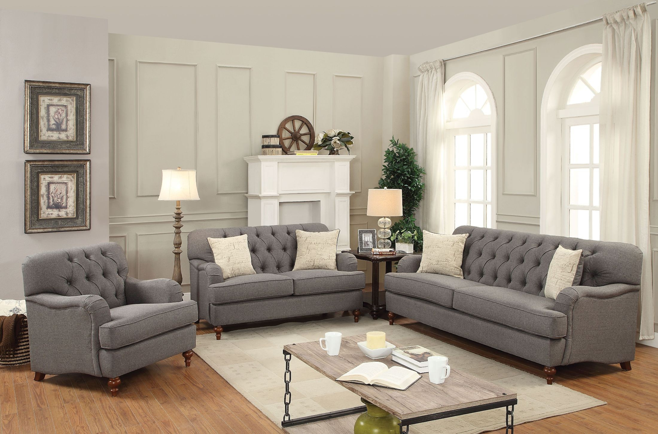 Alianza Dark Gray Sofa From Acme Coleman Furniture ~ Dark Gray Sofa Living Room
