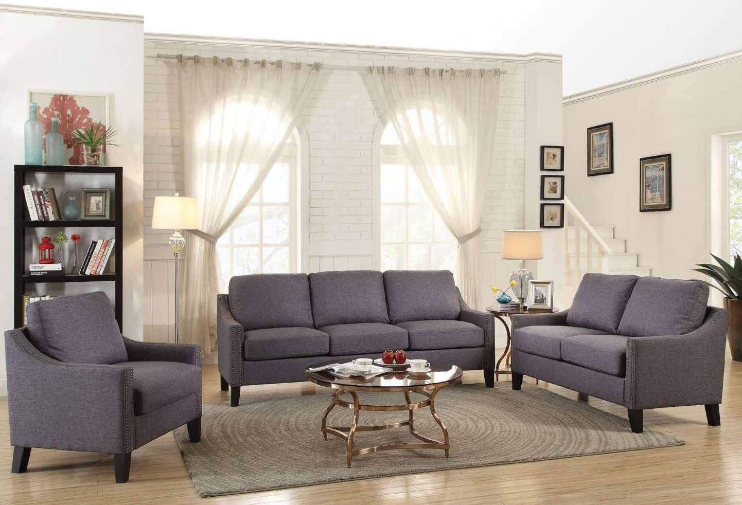 Zapata Jr Gray Linen Living Room Set from Acme | Coleman Furniture
