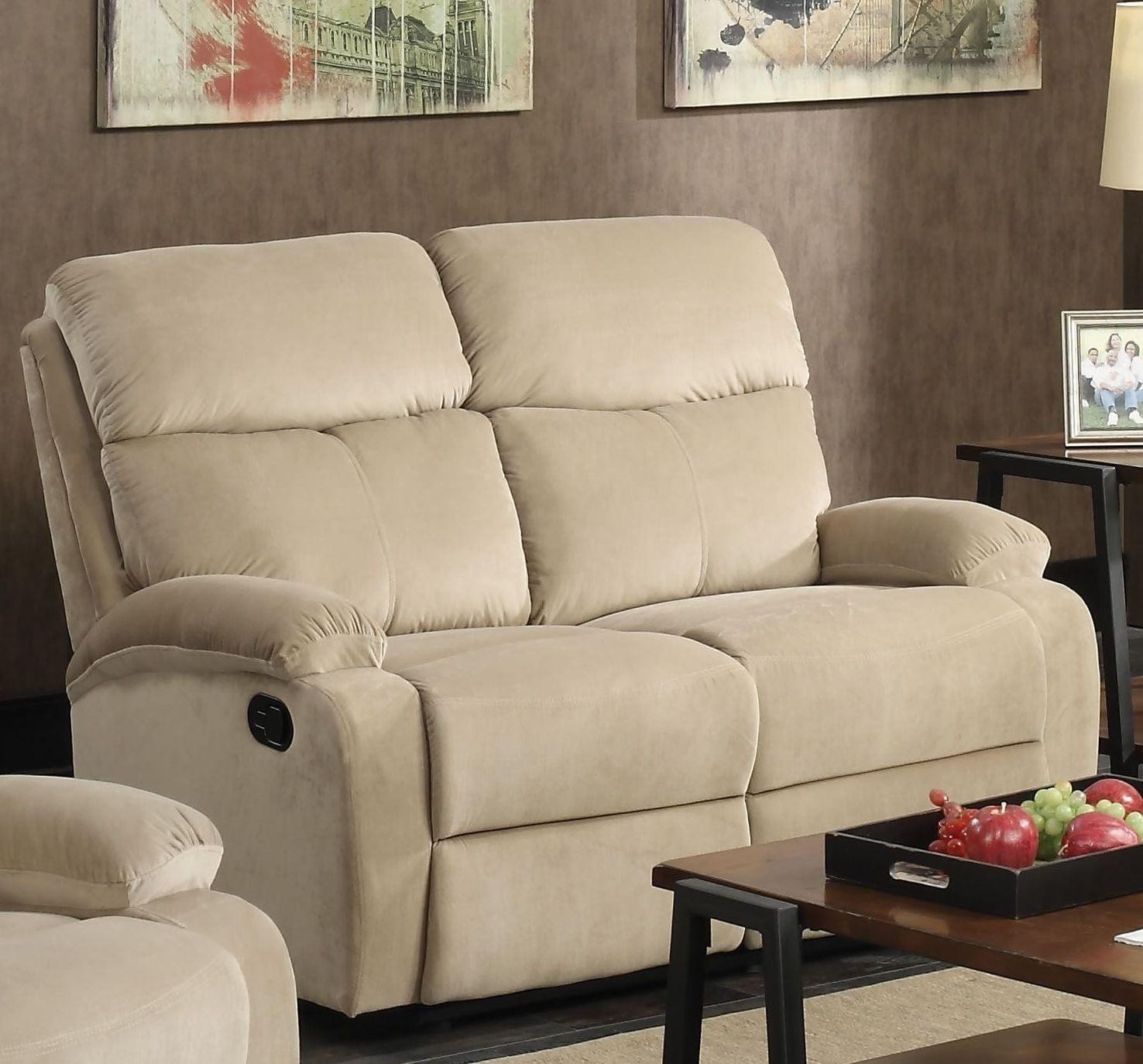 Mayborn Sand Velvet Reclining Living Room Set from Acme | Coleman ...
