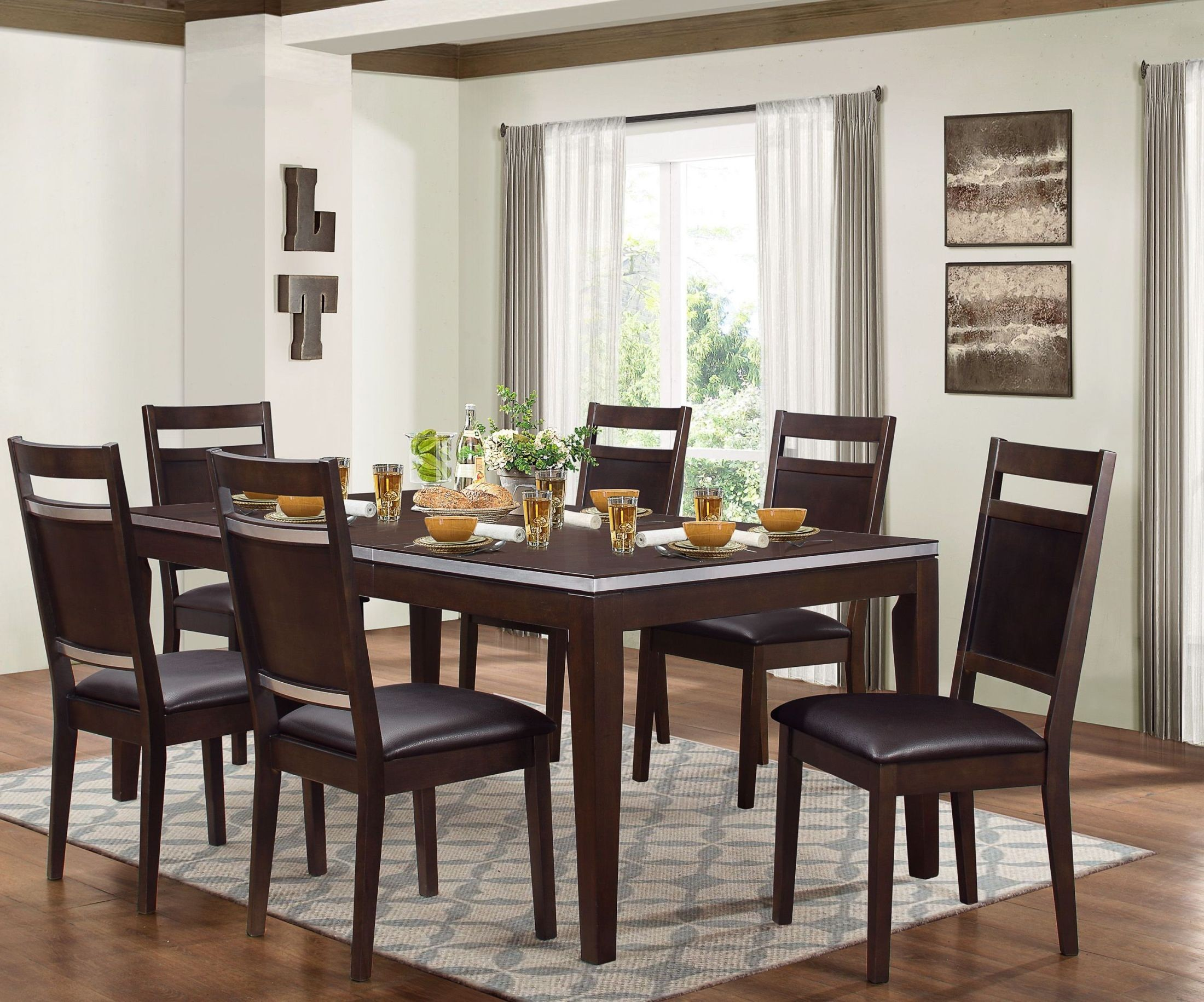Pasco brown dining room set from homelegance coleman for Brown dining room set