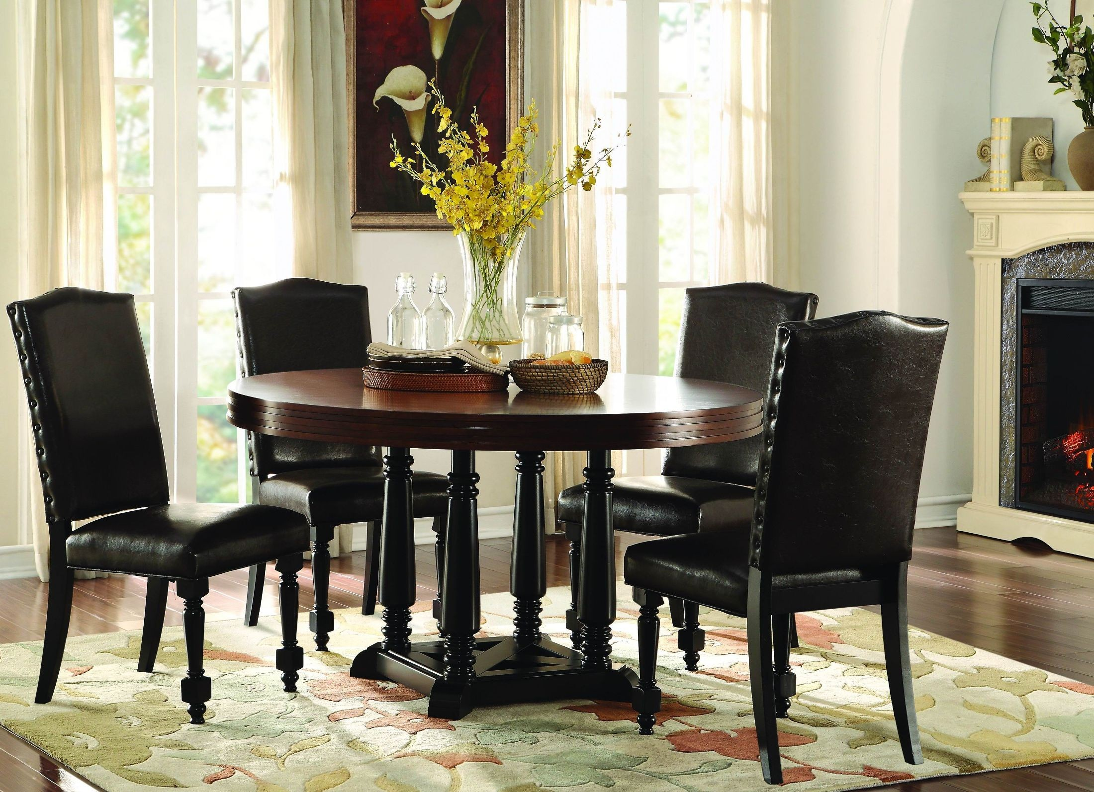Blossomwood brown round dining room set from homelegance for Brown dining room set