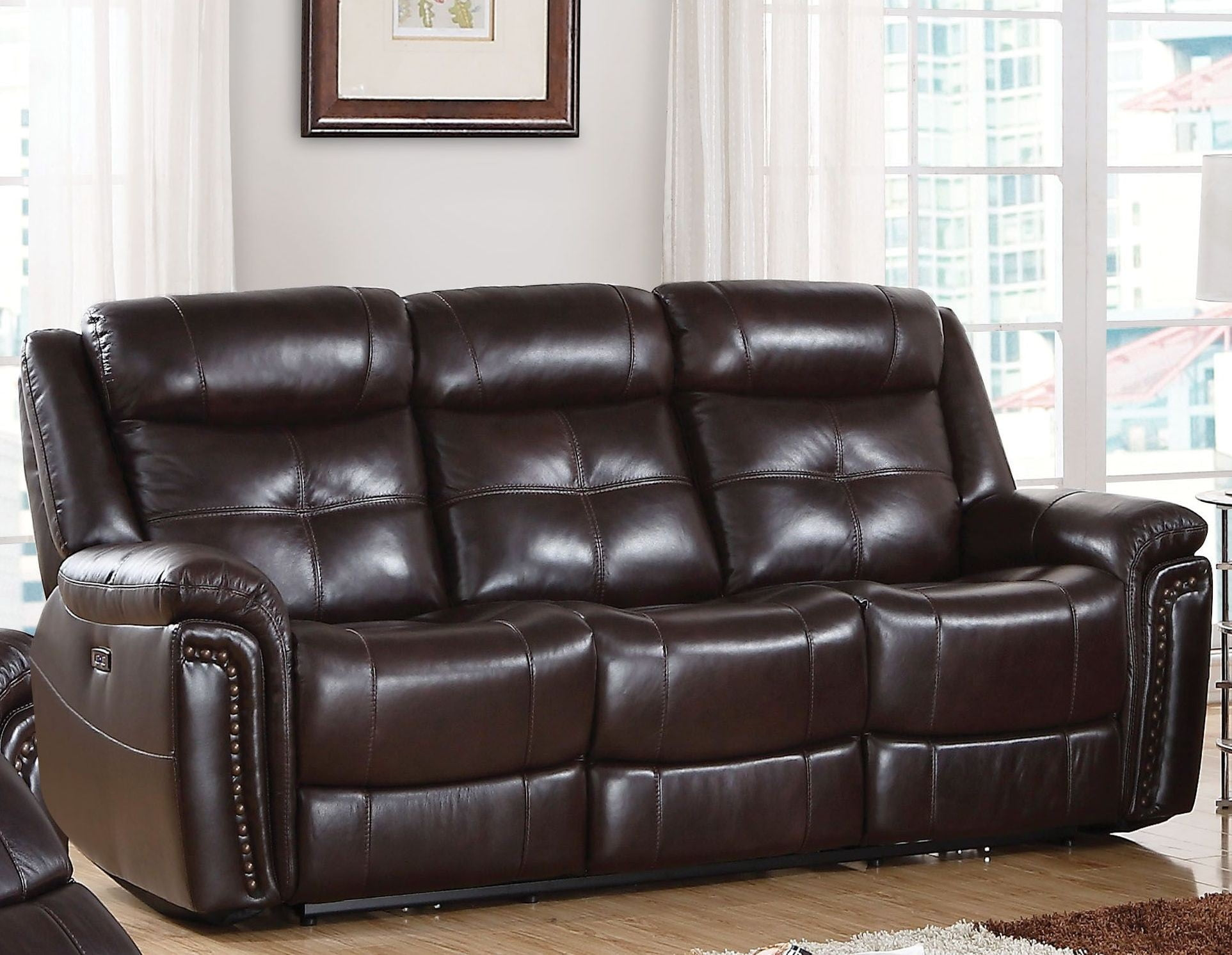 Anita Espresso Leather Match Power Reclining Sofa From