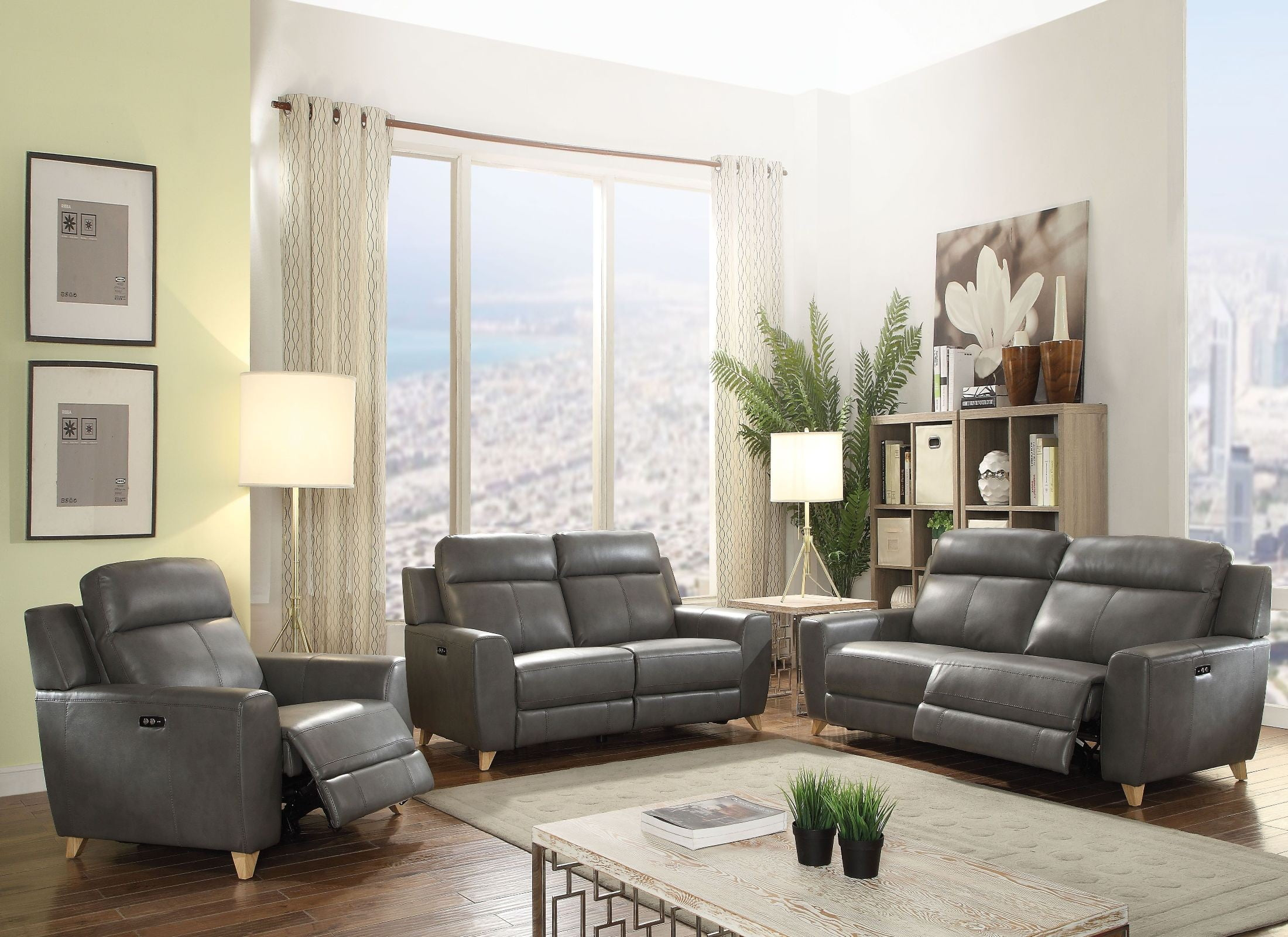 Cayden Gray Leather-Aire Match Power Reclining Living Room Set from ...