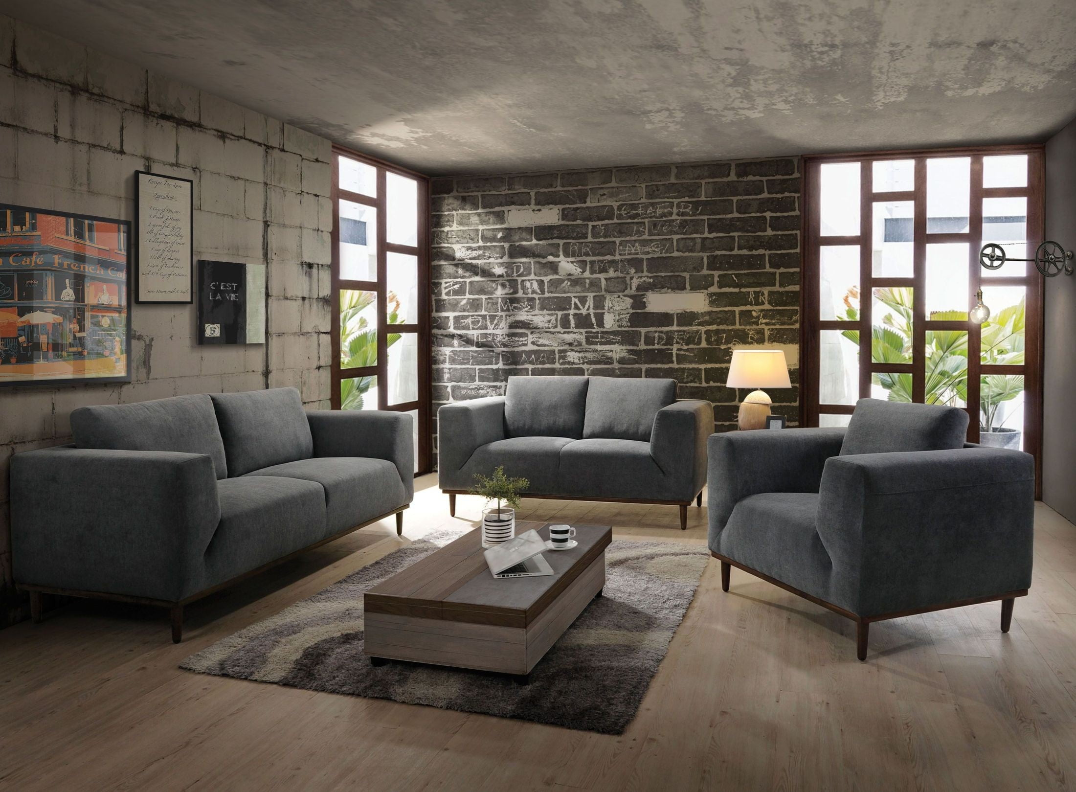 Lunaville Dark Gray Living Room Set from Acme