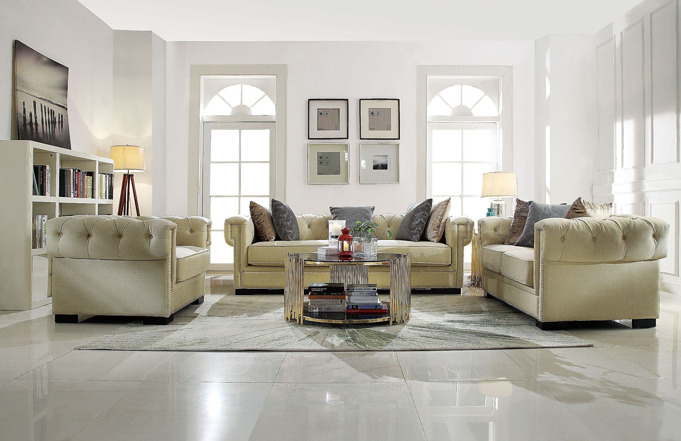 Eulalia Cream Polished Velvet Living Room Set from Acme | Coleman ...