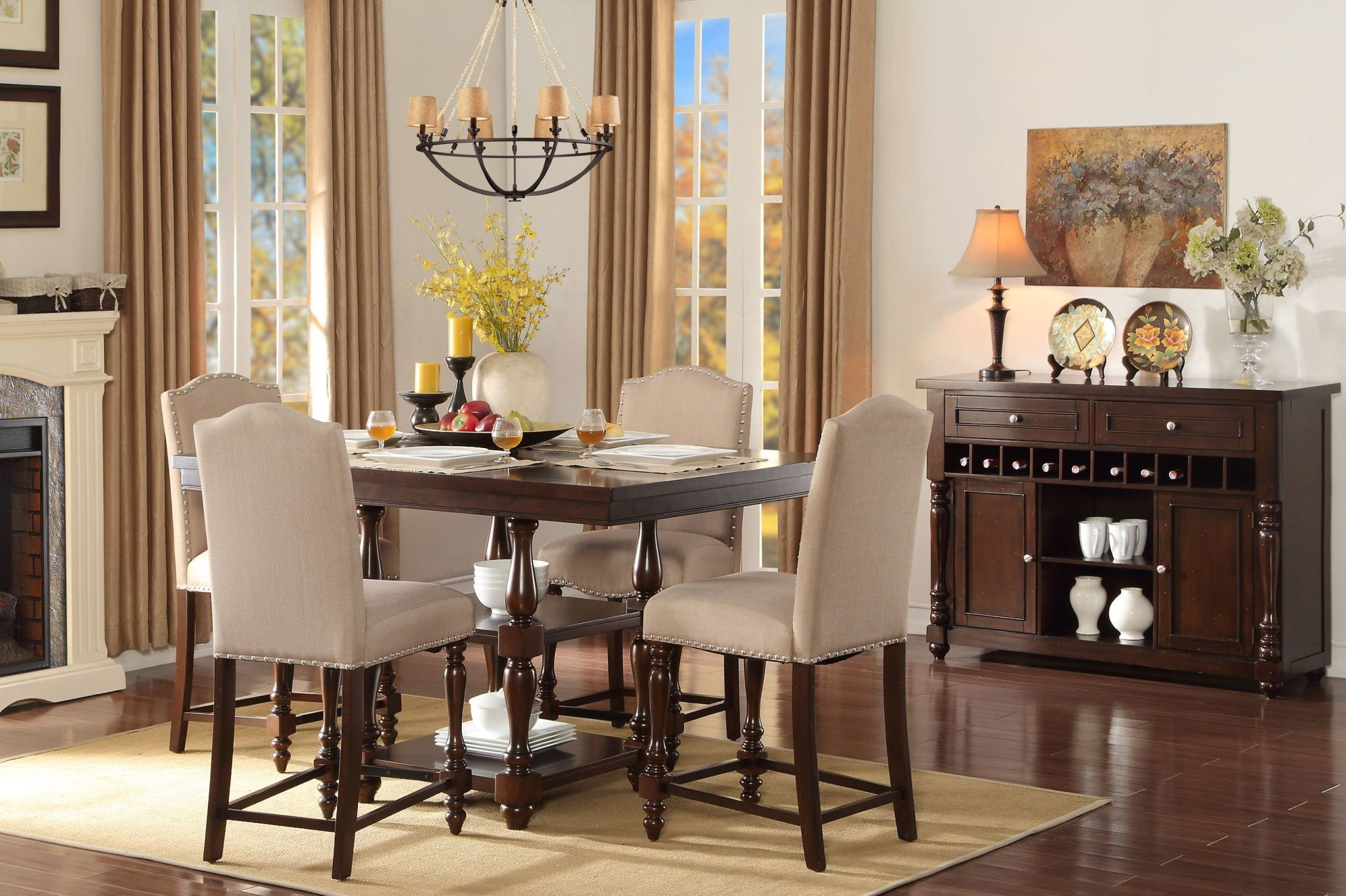 Benwick brown counter height dining room set from for Brown dining room set