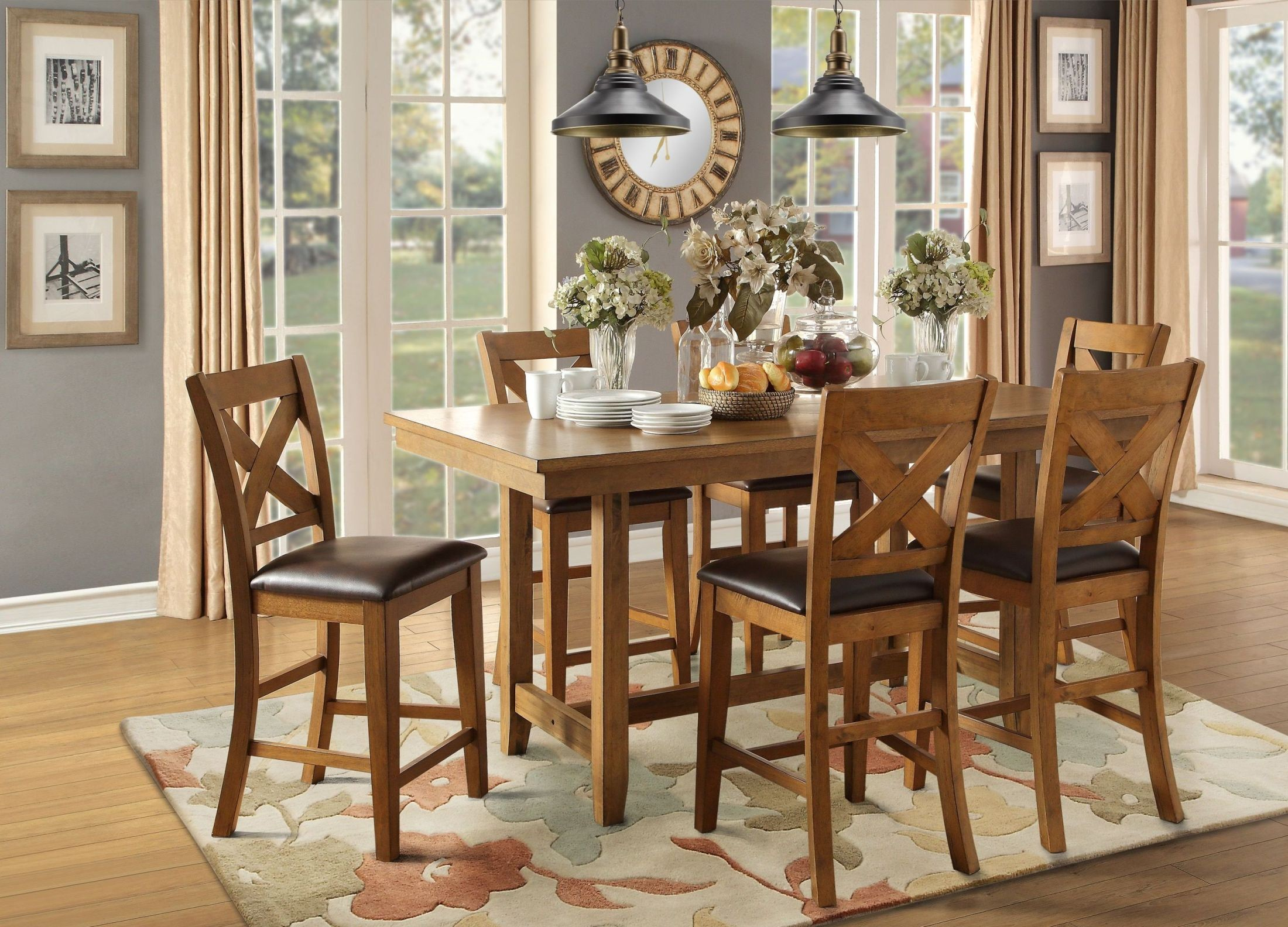 Burrillville brown counter height dining room set from for Brown dining room set