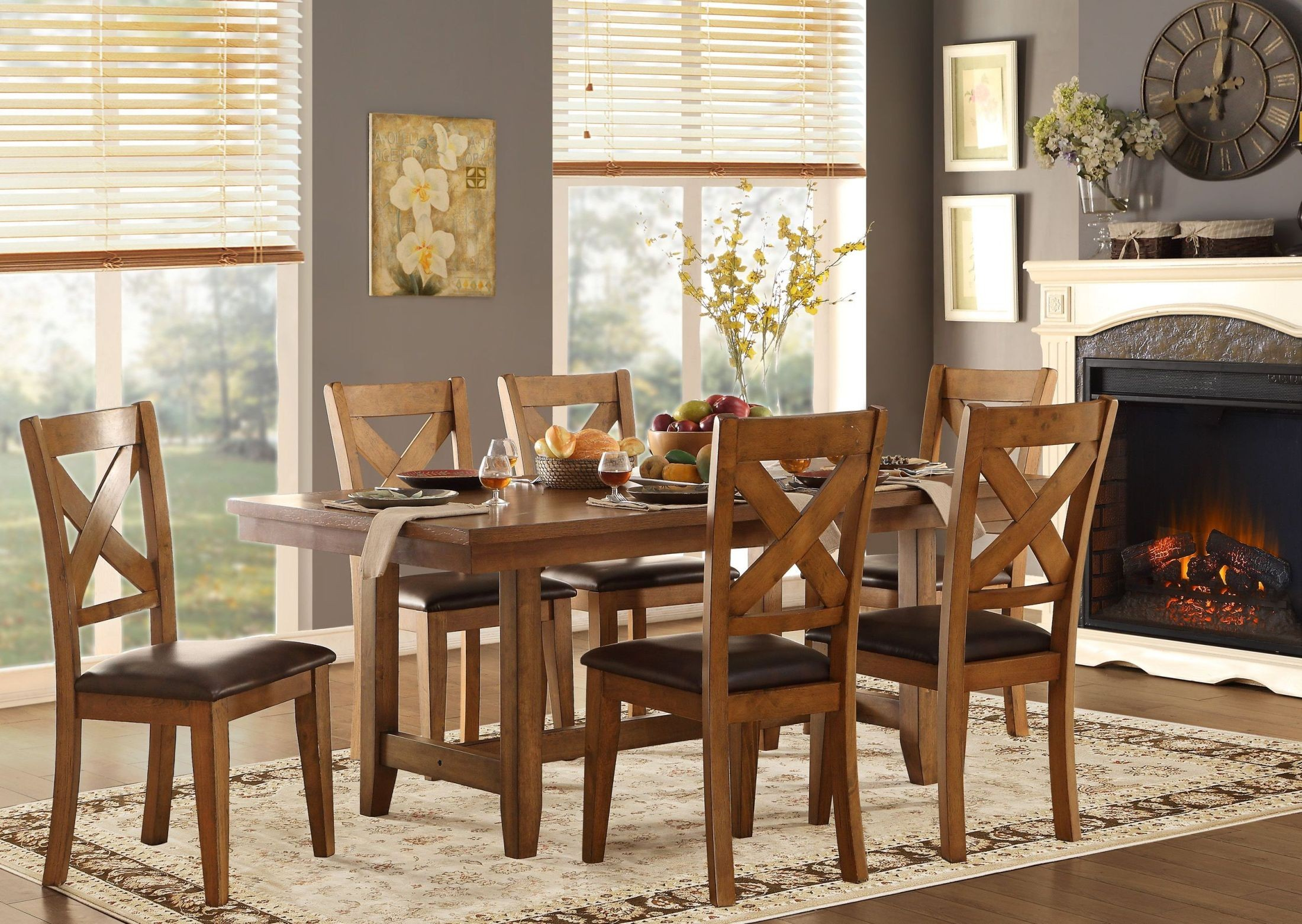Burrillville brown dining room set from homelegance for Brown dining room set