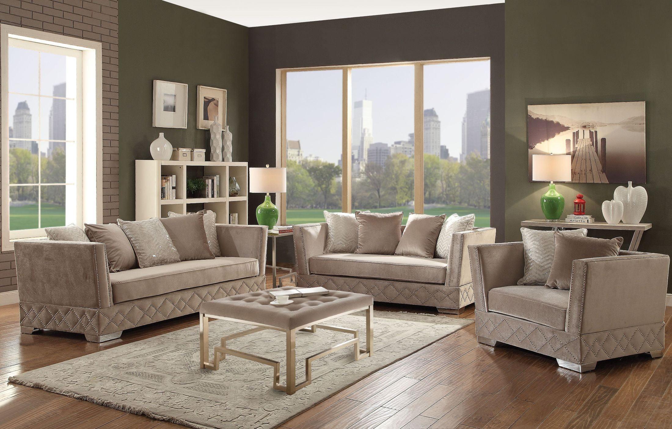 Tamara Beige Velvet Living Room Set from Acme | Coleman ...