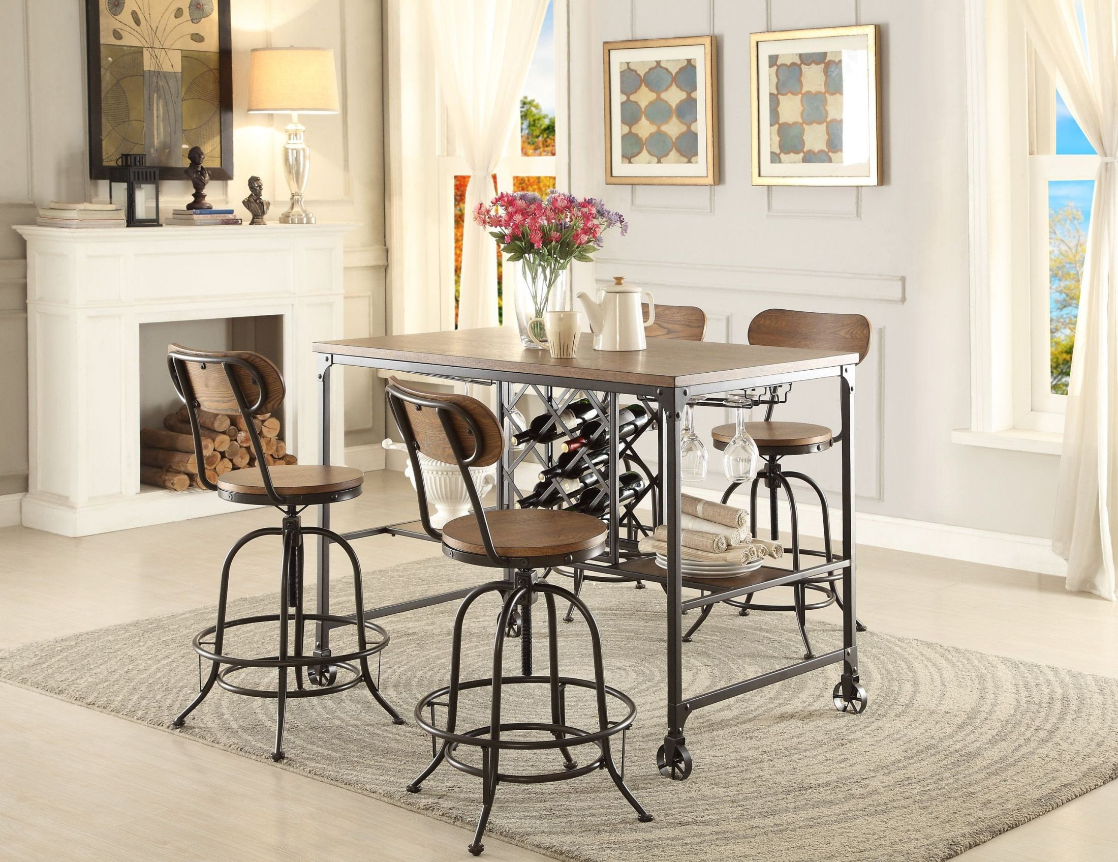 angstrom black counter height dining room set from homelegance coleman furniture. Black Bedroom Furniture Sets. Home Design Ideas