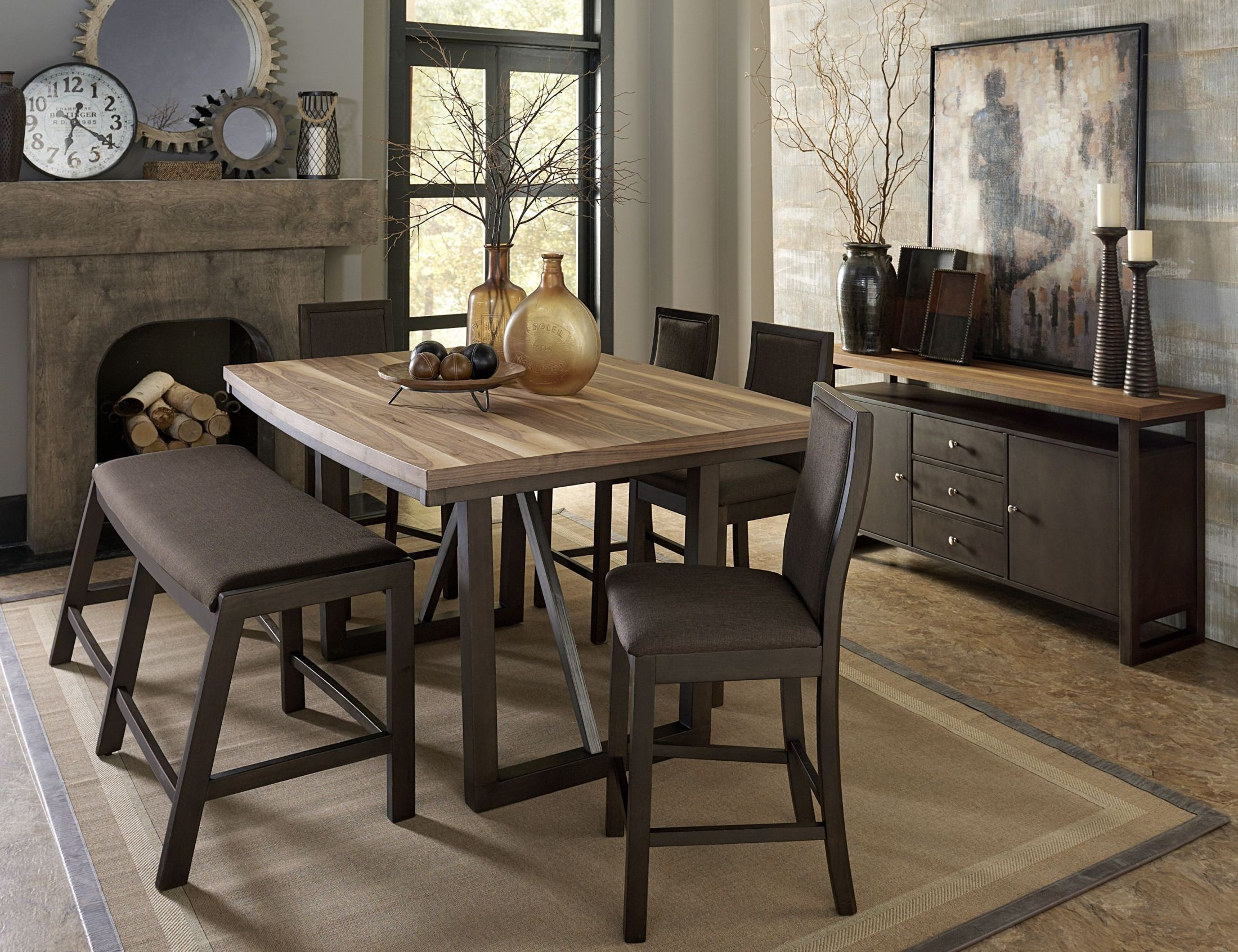 Compson Walnut Counter Height Dining Room Set from ...