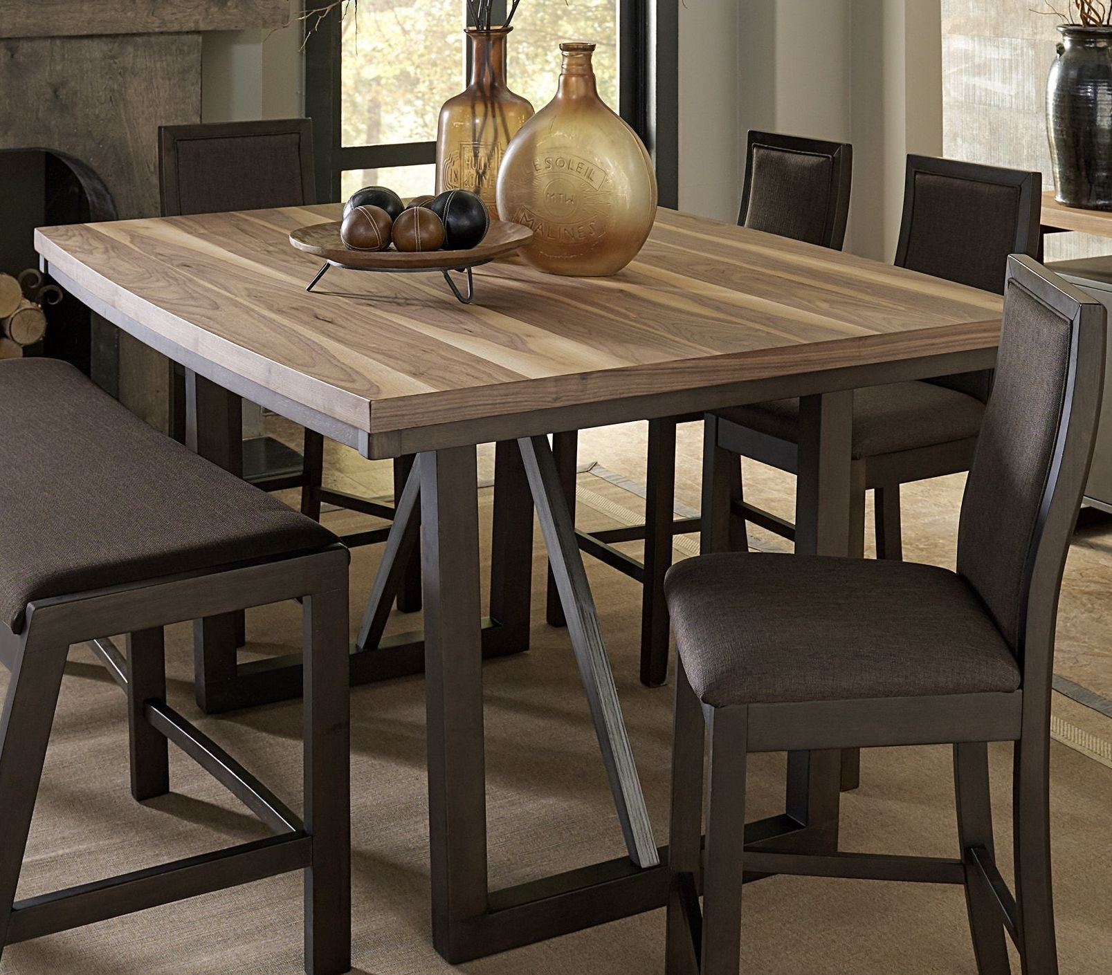 compson walnut counter height dining room set from