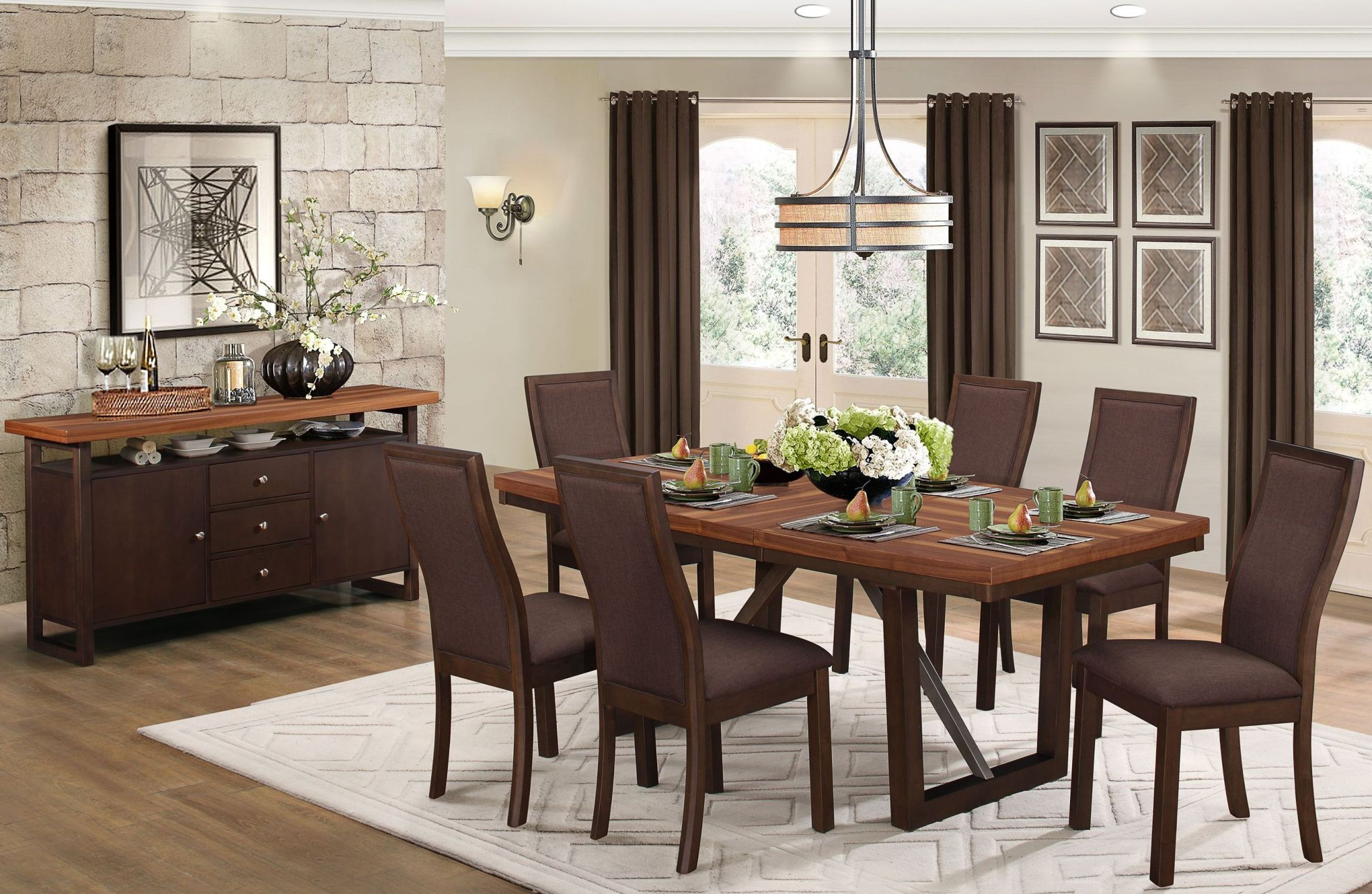 Compson brown rectangular extendable dining room set from for Brown dining room set