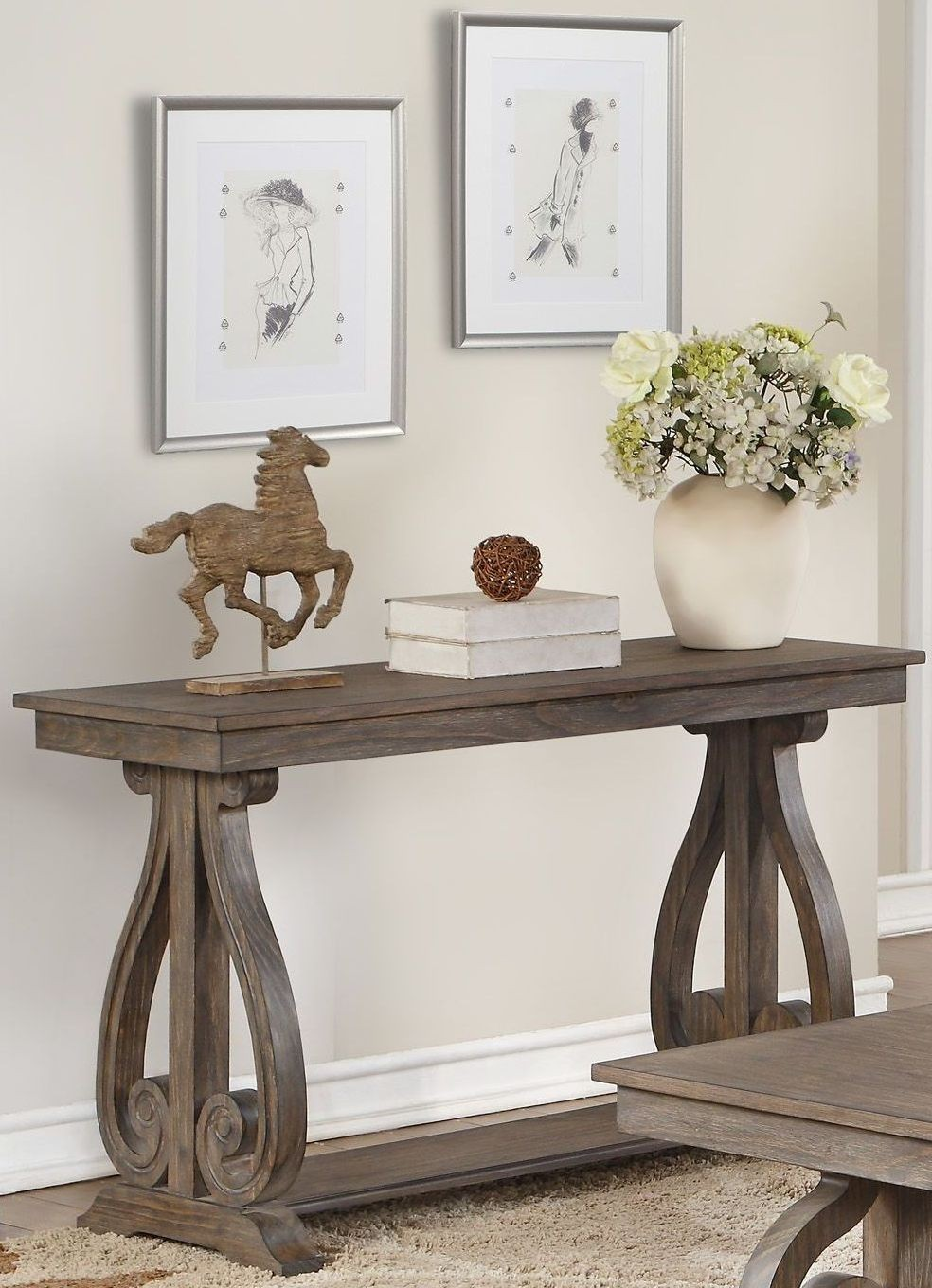Toulon Unique Rustic Sofa Table From Homelegance
