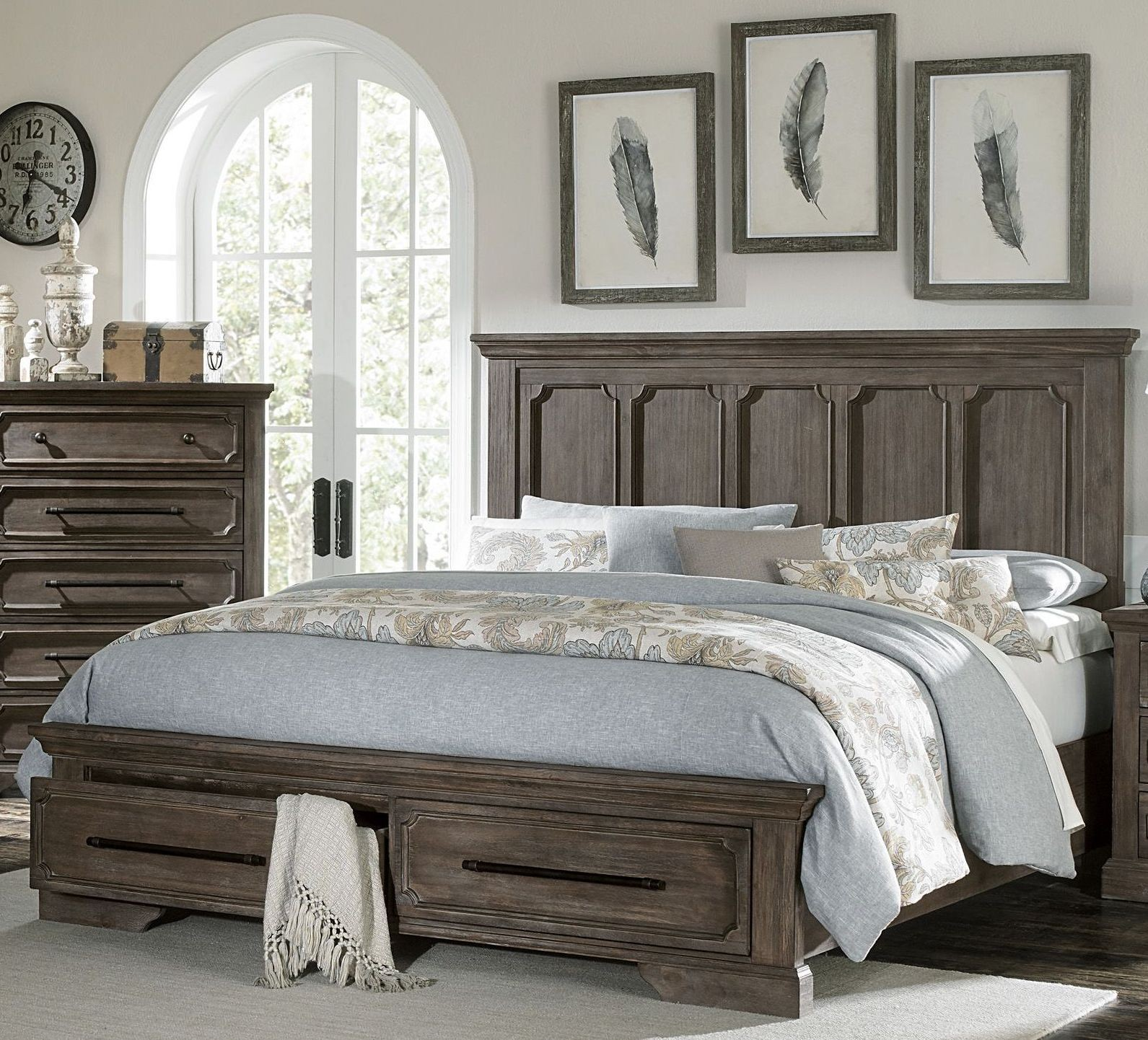 Toulon Unique Rustic Cal King Storage Bed From