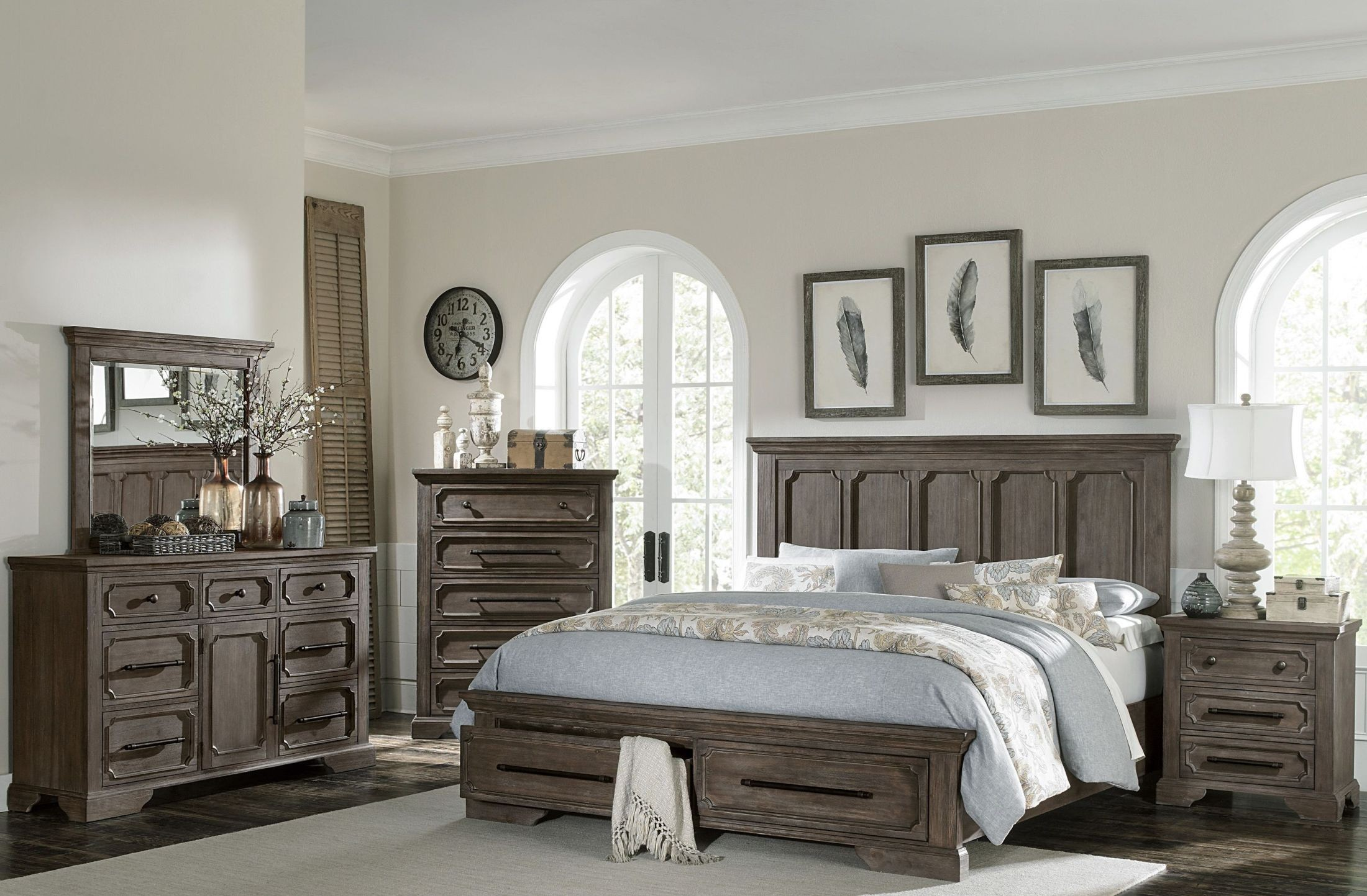 toulon unique rustic storage bedroom set from homelegance. Black Bedroom Furniture Sets. Home Design Ideas