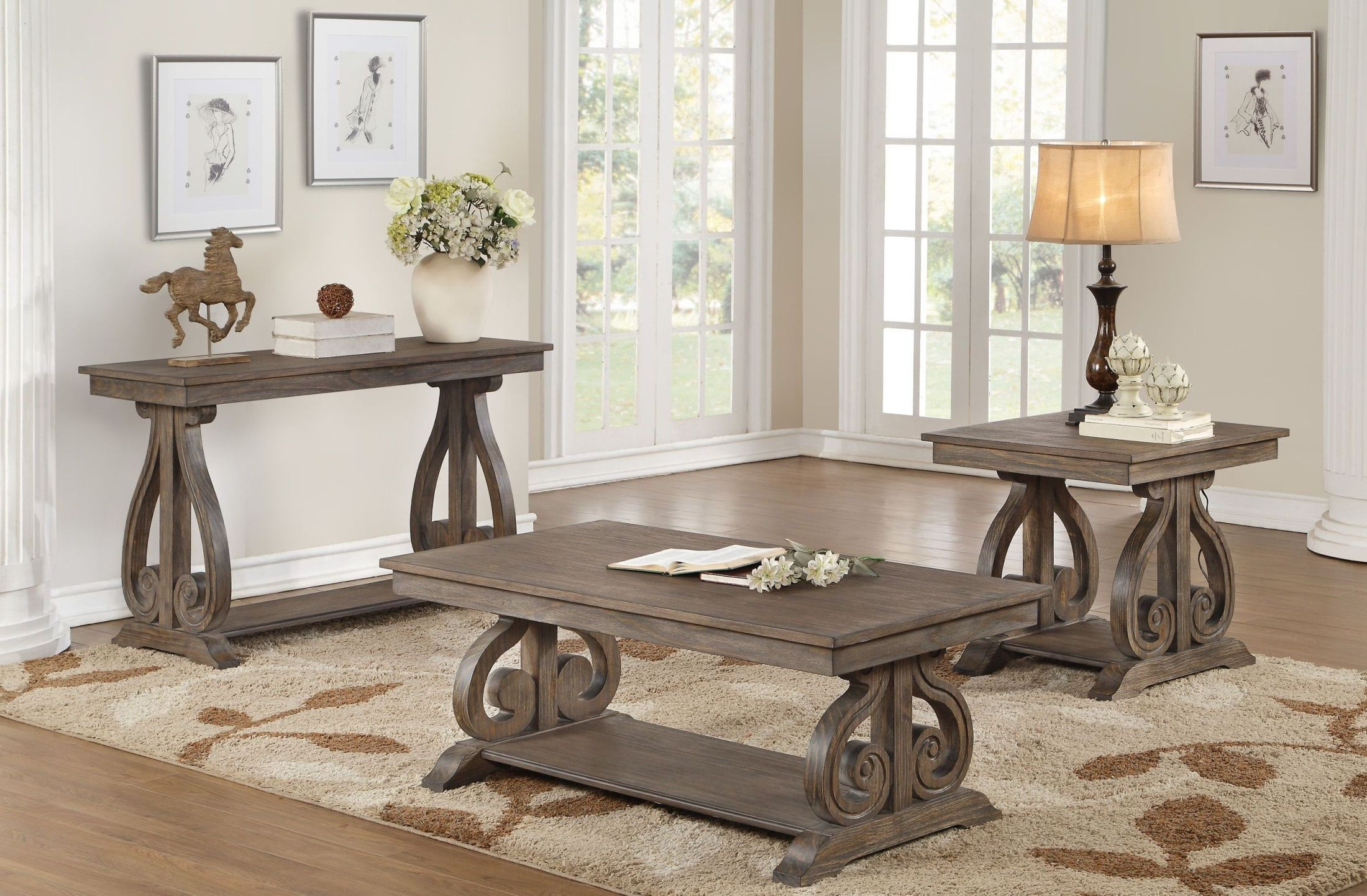 Toulon Unique Rustic Sofa Table From Homelegance Coleman