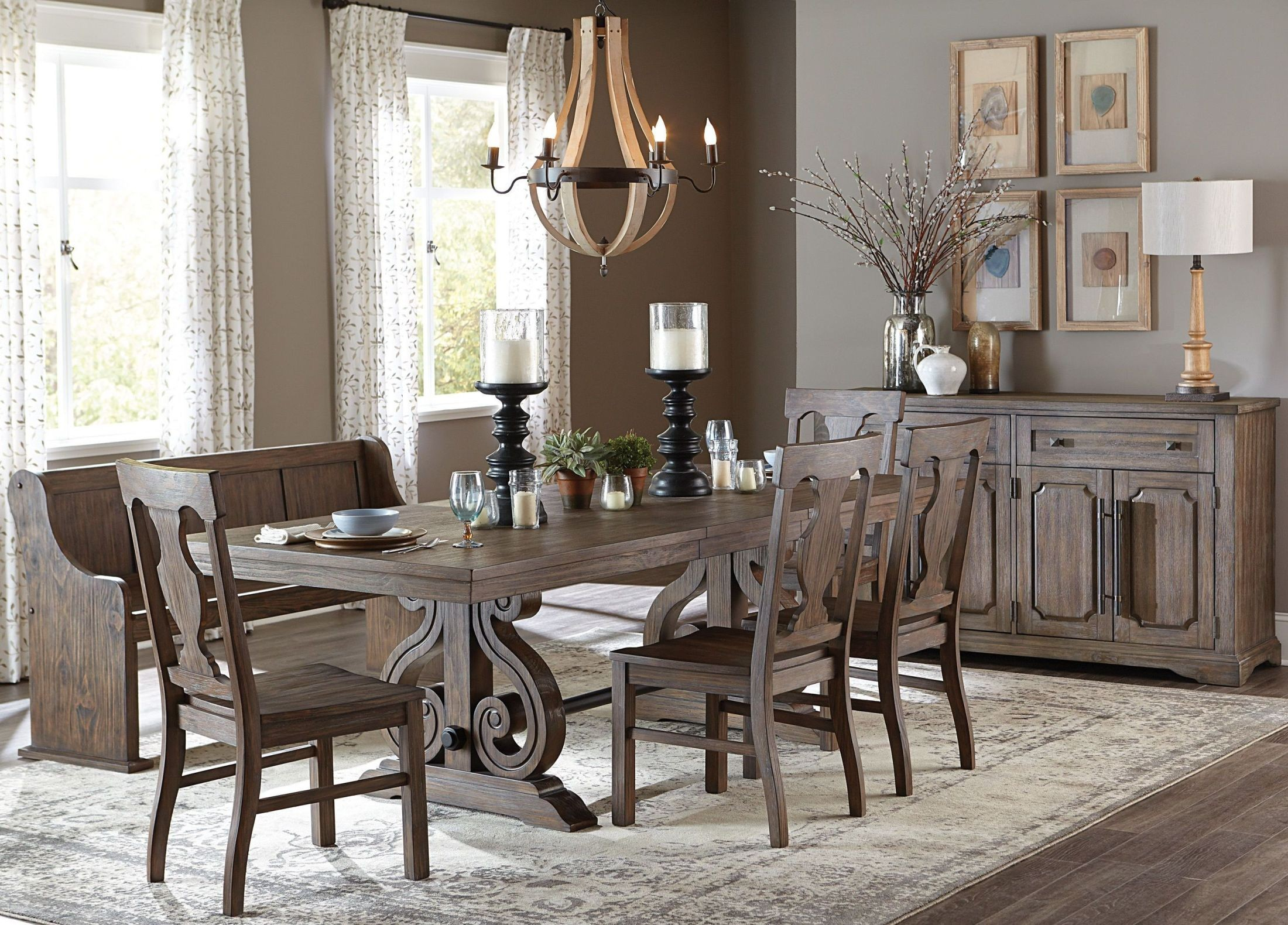 Toulon brown rectangular extendable dining room set from for Brown dining room set