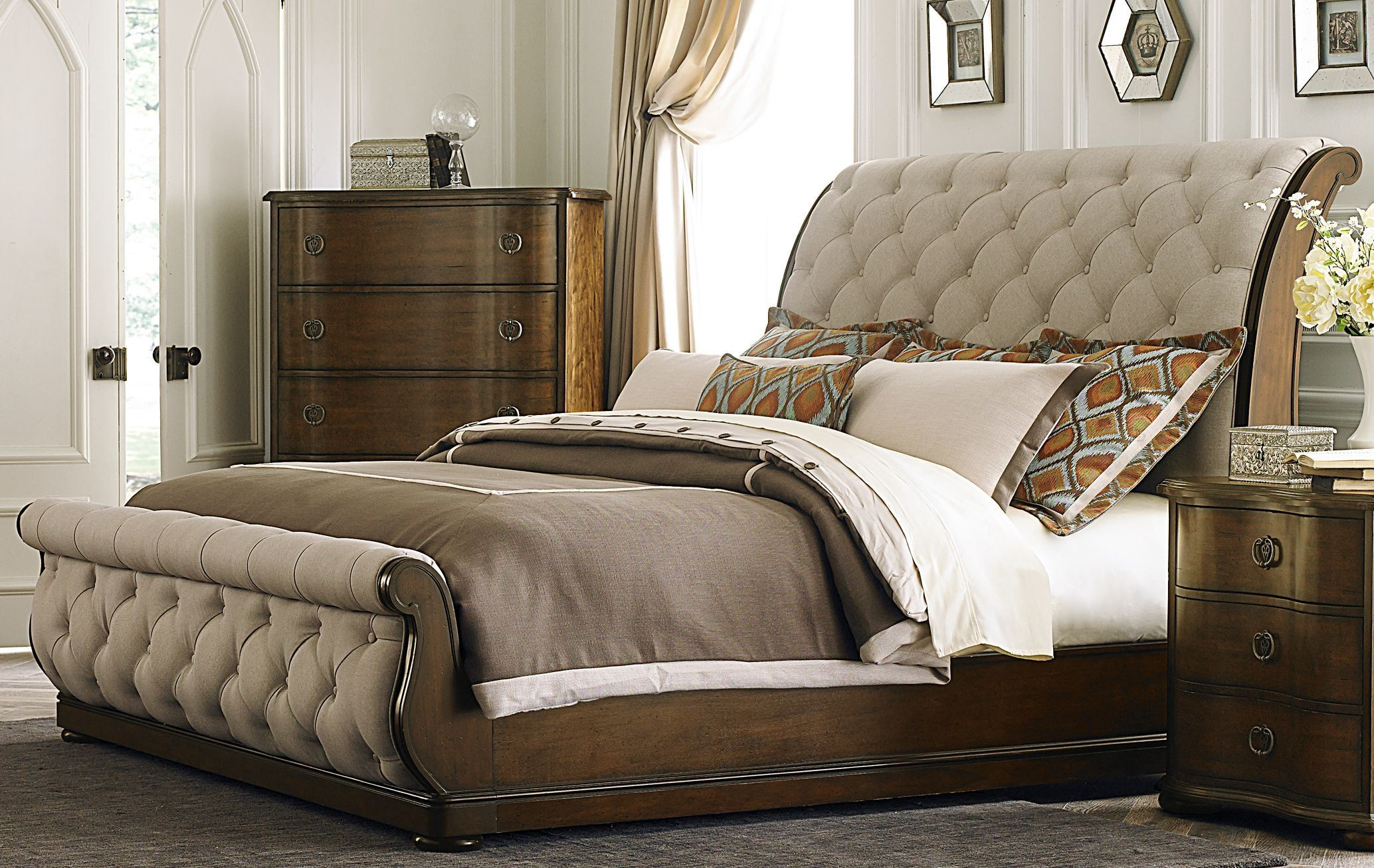 upholstered bedroom furniture cotswold upholstered sleigh bedroom set from liberty 545 13696