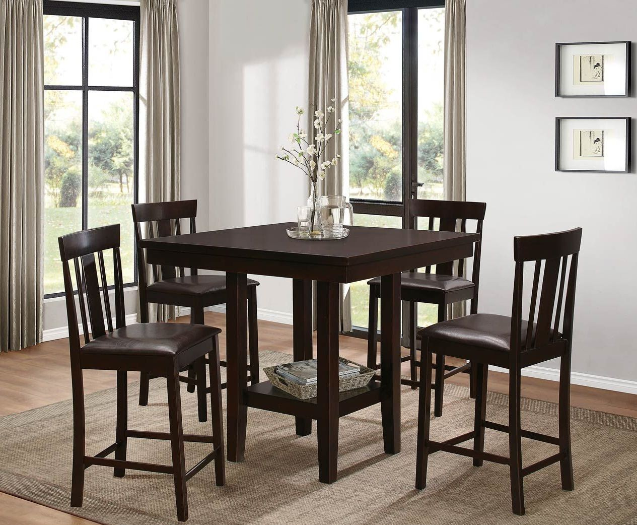 Diego brown square counter height dining room set from for Brown dining room set