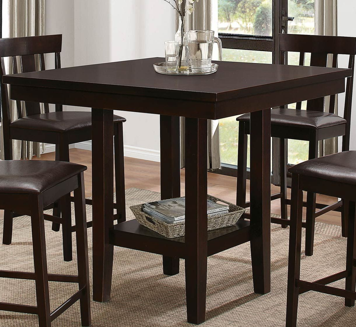 Diego Brown Square Counter Height Dining Table from