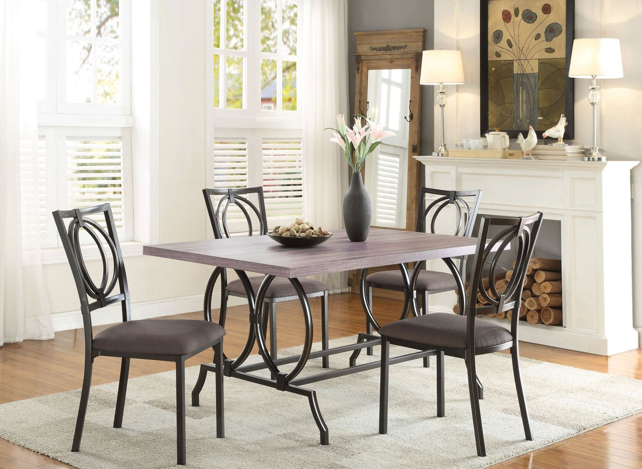 Chama brown dining room set from homelegance coleman for Brown dining room set