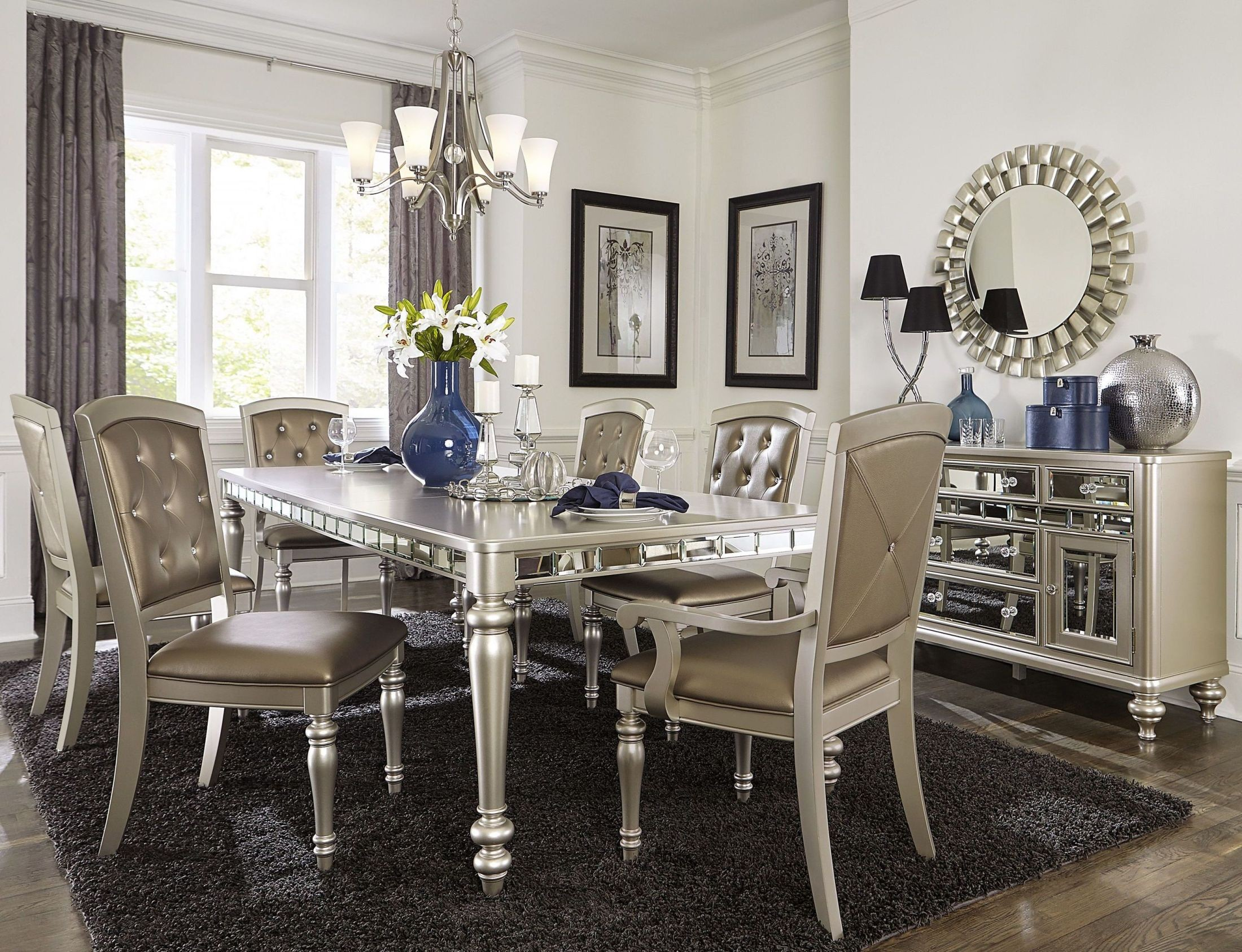 Orsina silver extendable dining room set from homelegance for Dining room designs uk