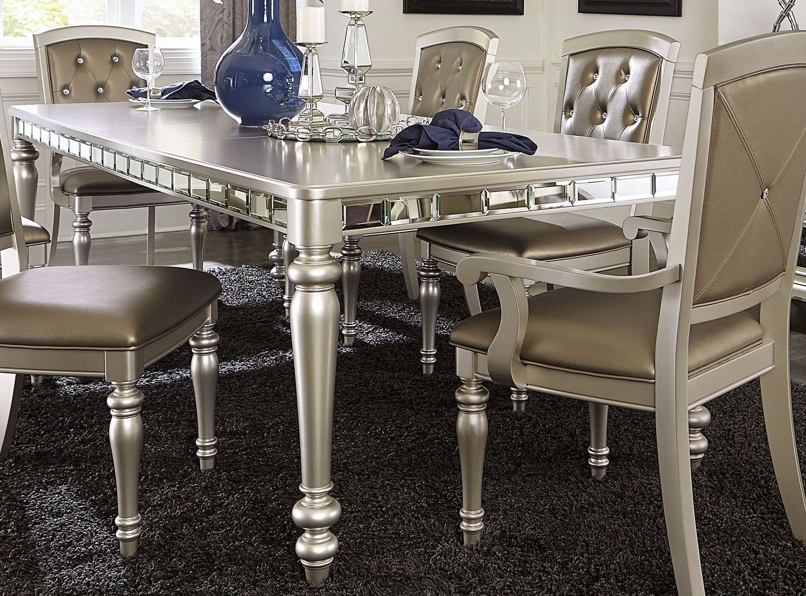Orsina Silver Extendable Dining Table From Homelegance