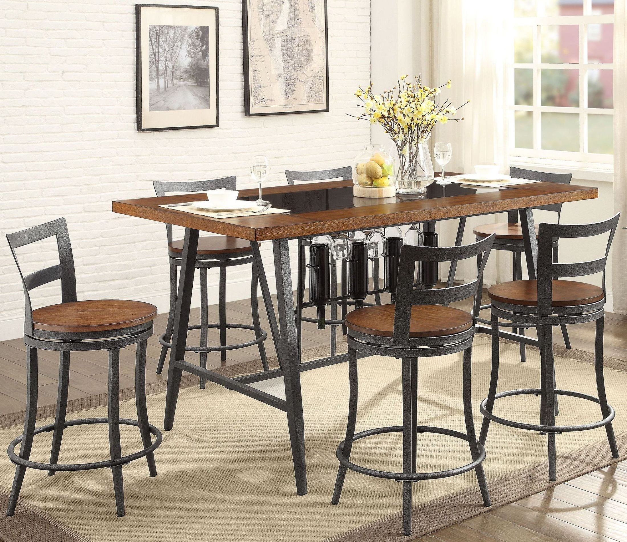 Selbyville cherry counter height dining room set from for Cherry dining room set