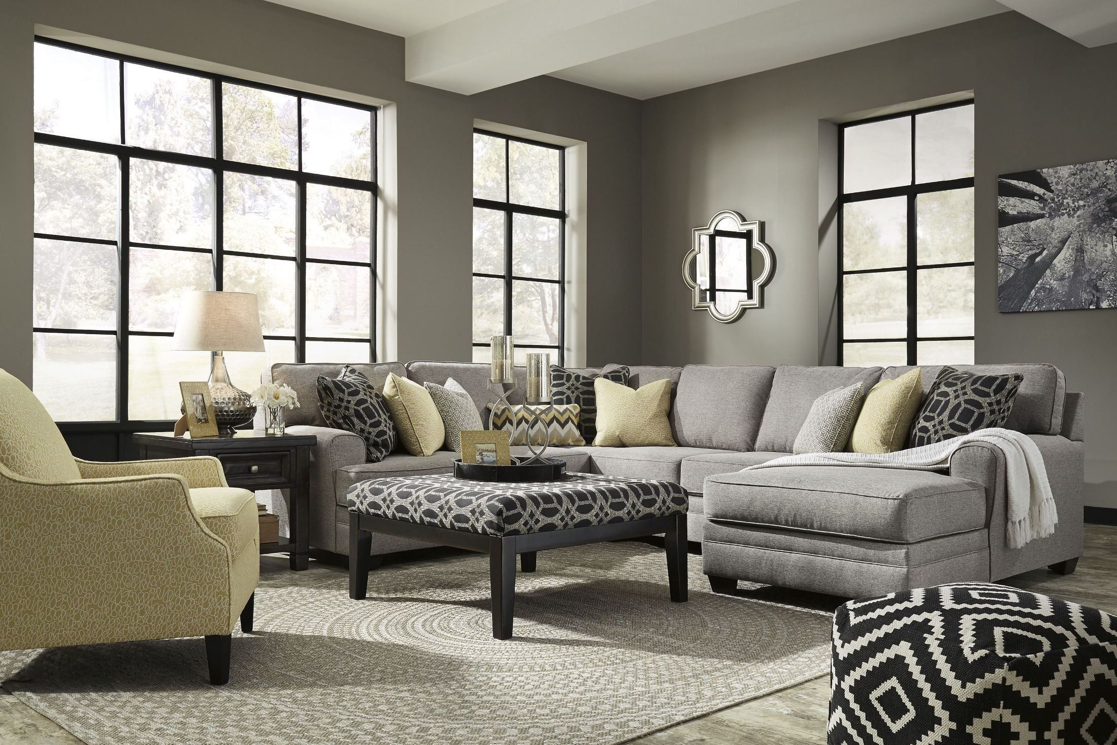 Cresson Pewter Raf Chaise Sectional From Ashley Coleman