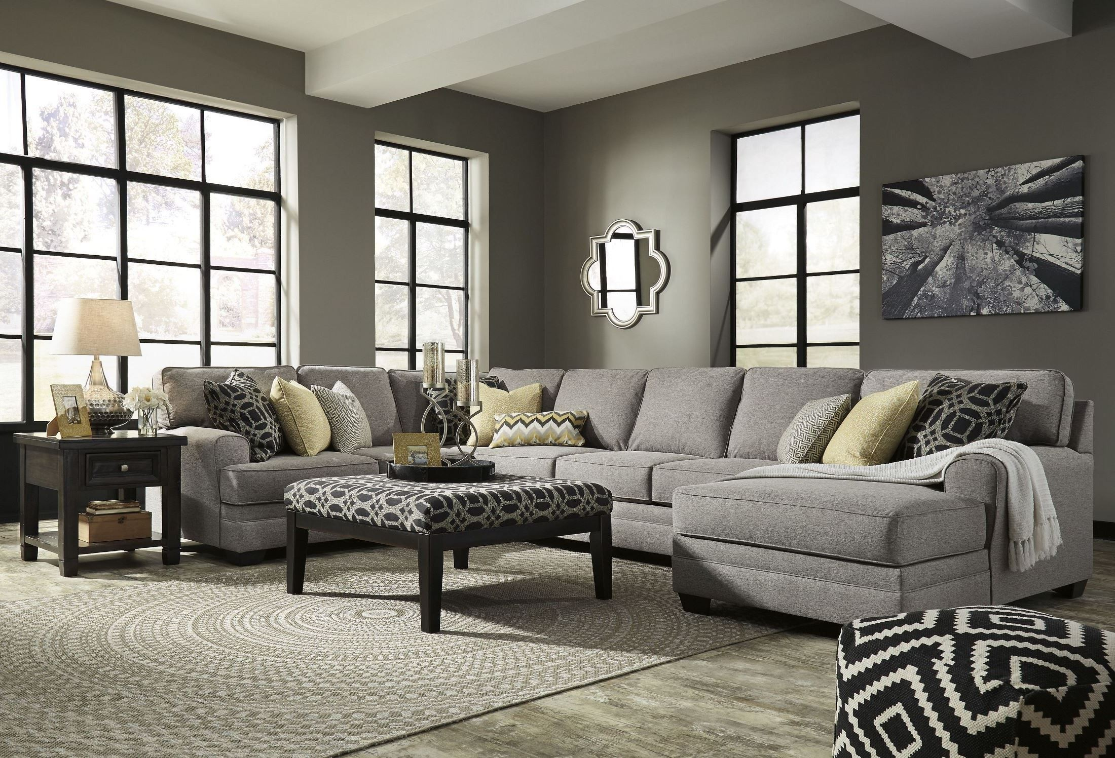 Cresson Pewter Raf Large Chaise Sectional From Ashley