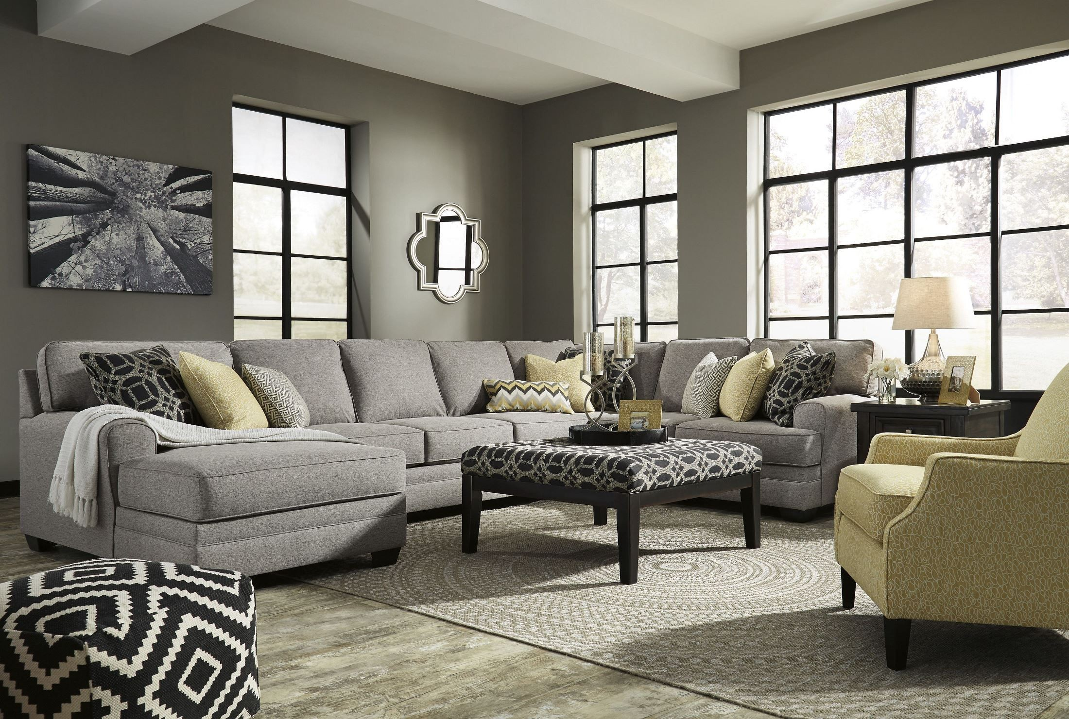 cresson pewter laf large chaise sectional from ashley coleman furniture. Black Bedroom Furniture Sets. Home Design Ideas