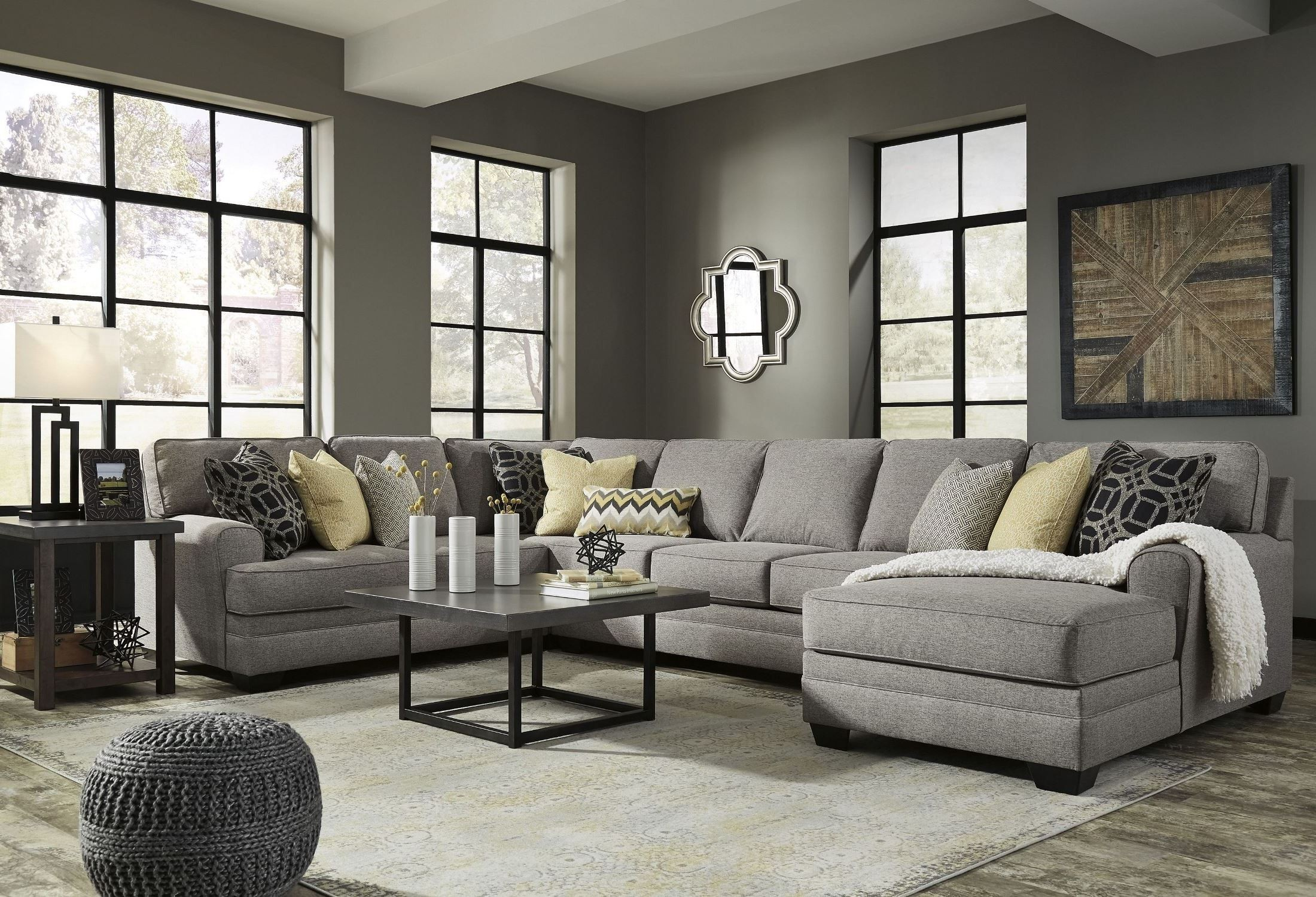 Cresson Pewter Raf Large Chaise Sectional 54907 Sec3 Ashley