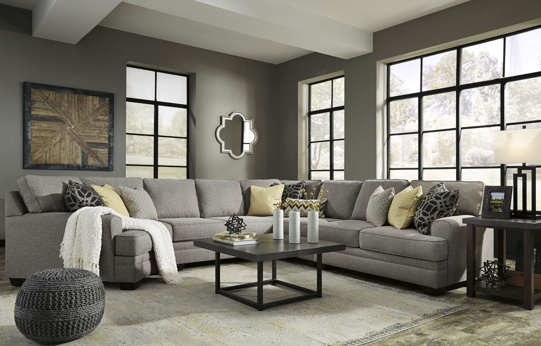 Cresson Pewter LAF Cuddler Sectional, 54907-SEC6, Ashley