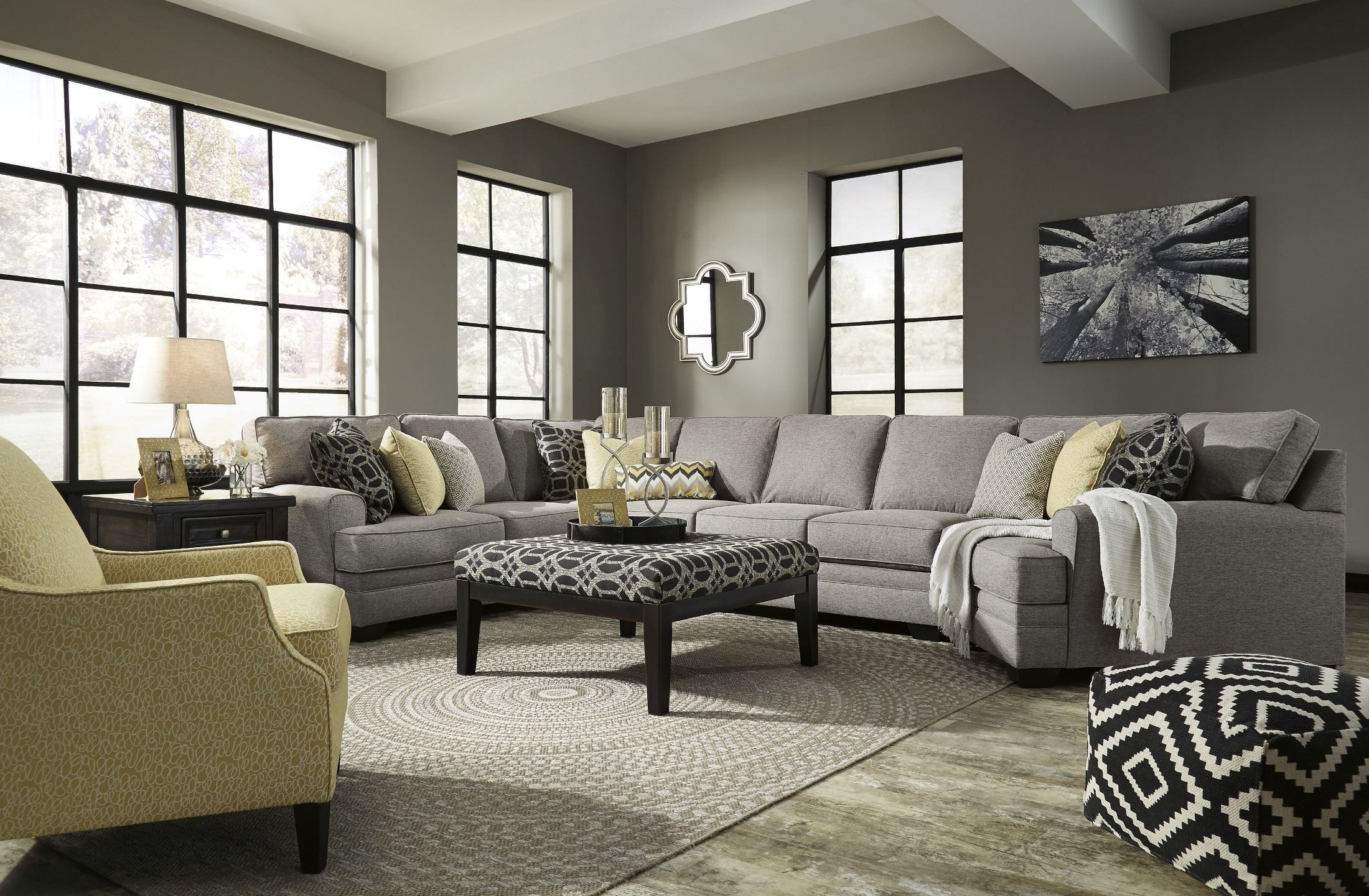 Cresson Pewter Raf Large Cuddler Sectional 54907 Sec7 Ashley