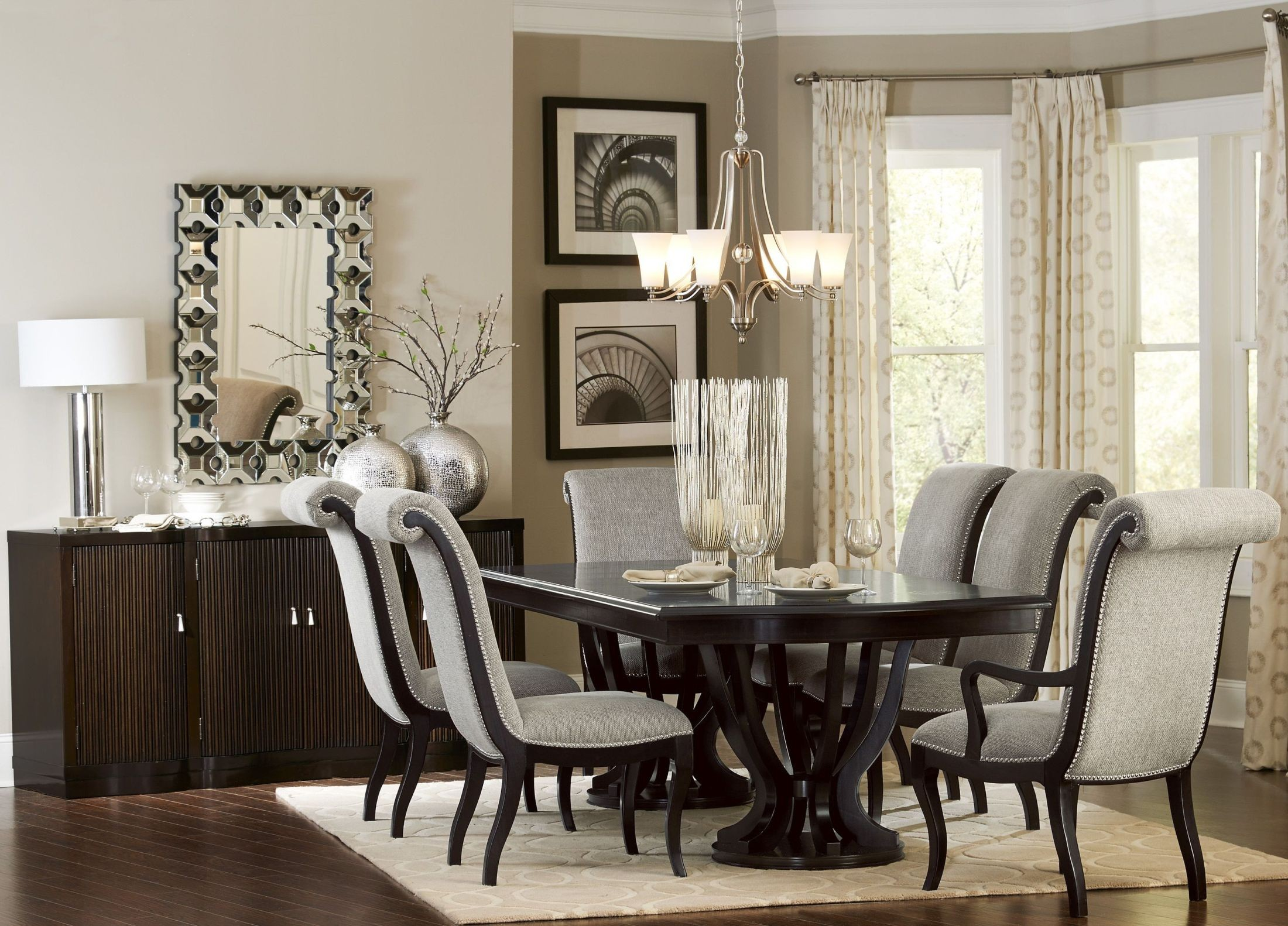 Savion Espresso Natural Tone Extendable Dining Room Set ...