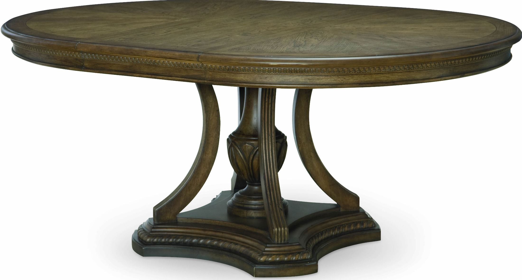 Renaissance Waxed Oak Extendable Round Dining Table From