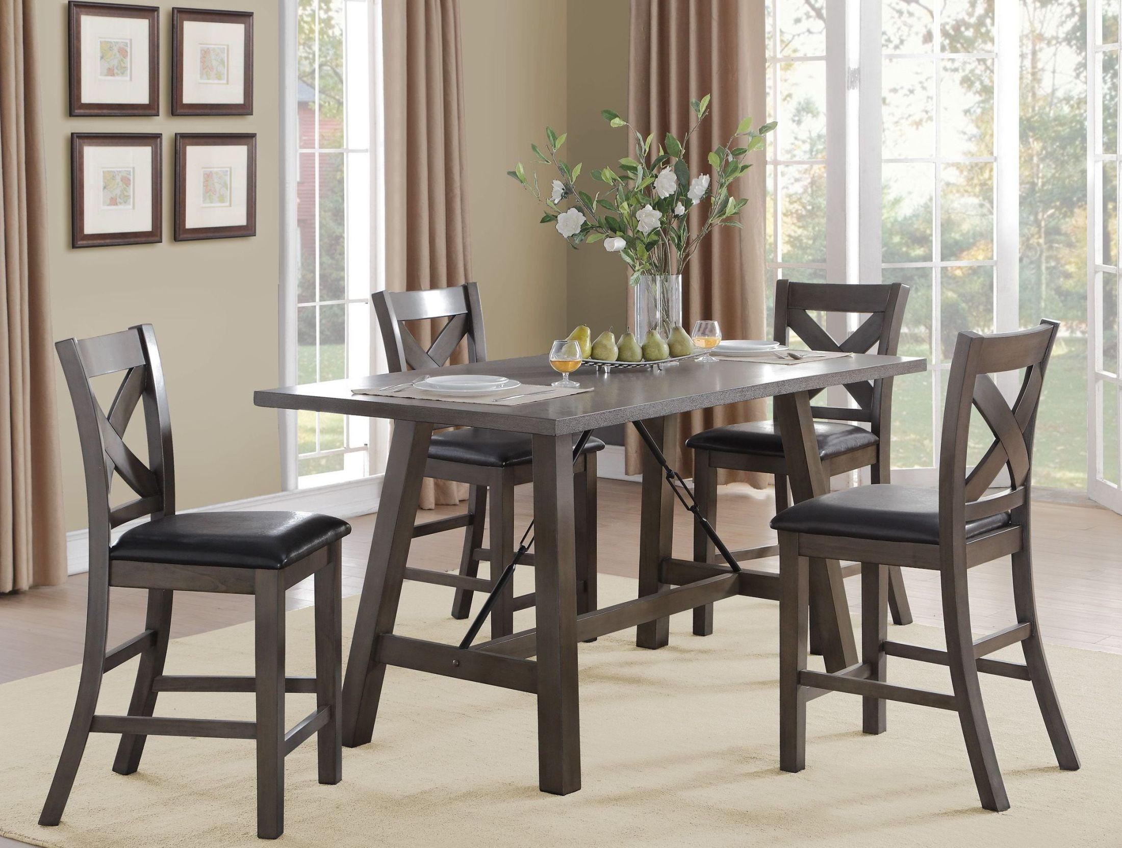 Seaford black counter height dining room set from for Black dining room set