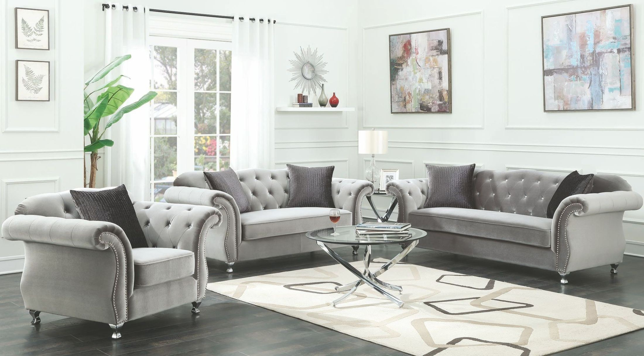 Frostine Silver Living Room Set from Coaster | Coleman Furniture