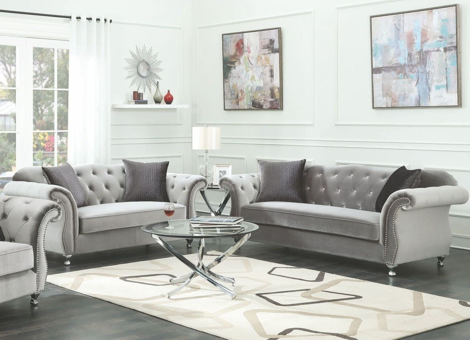 Frostine silver living room set from coaster coleman for Living room of satoshi review