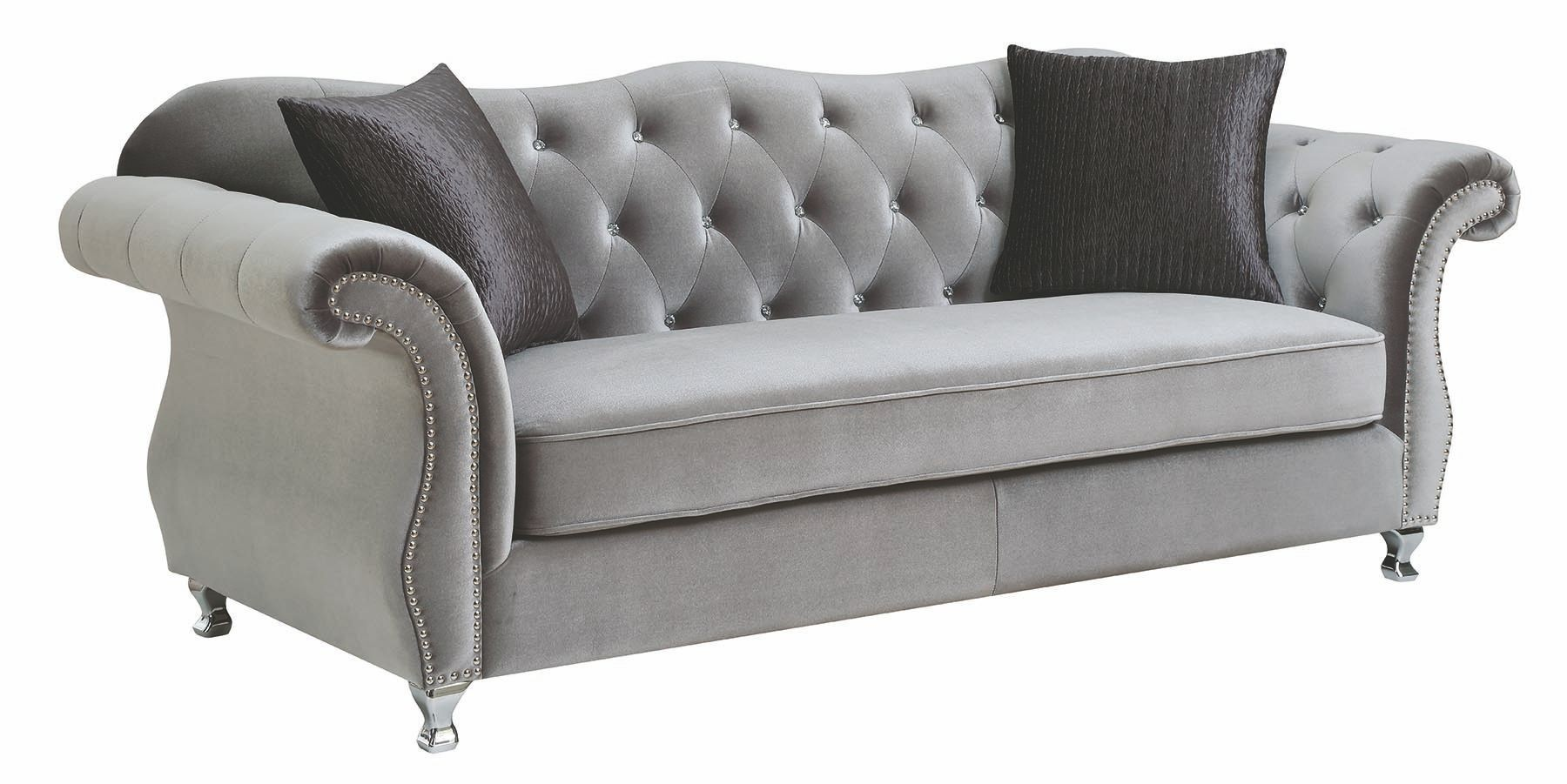 Frostine Silver Sofa From Coaster Coleman Furniture
