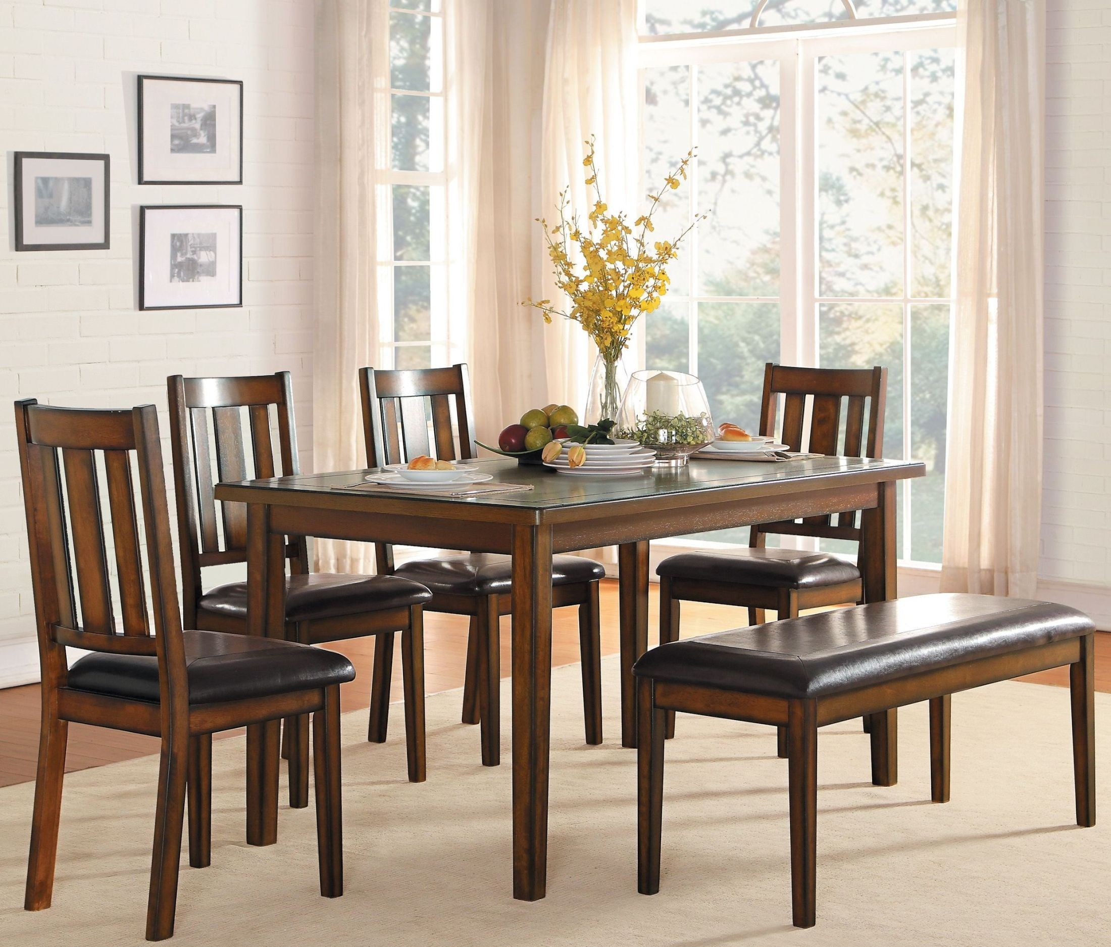 Delmar burnished brown 6 piece dining room set from for 6 piece dining room set