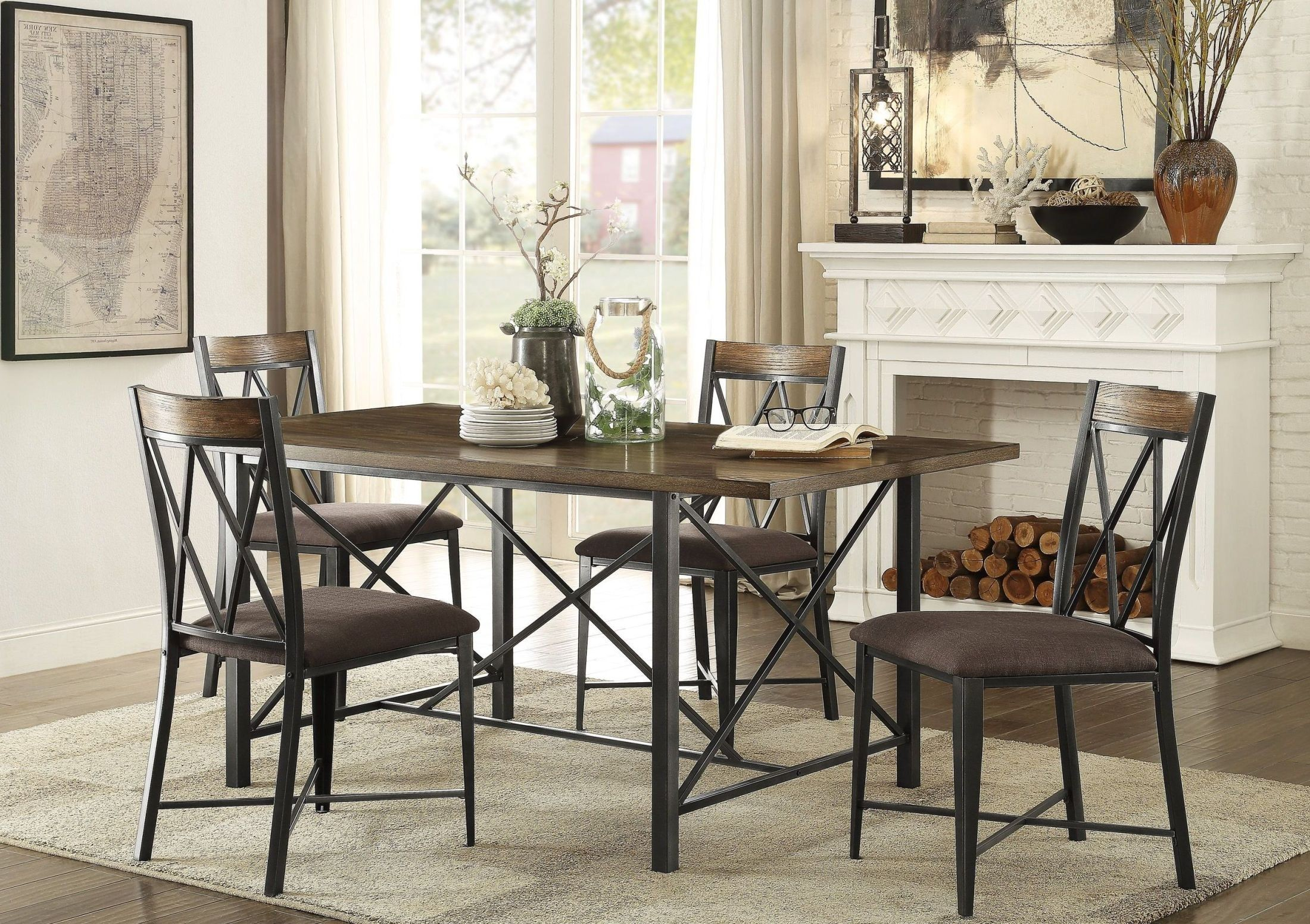 Sage burnished brown dining room set from homelegance for Brown dining room set