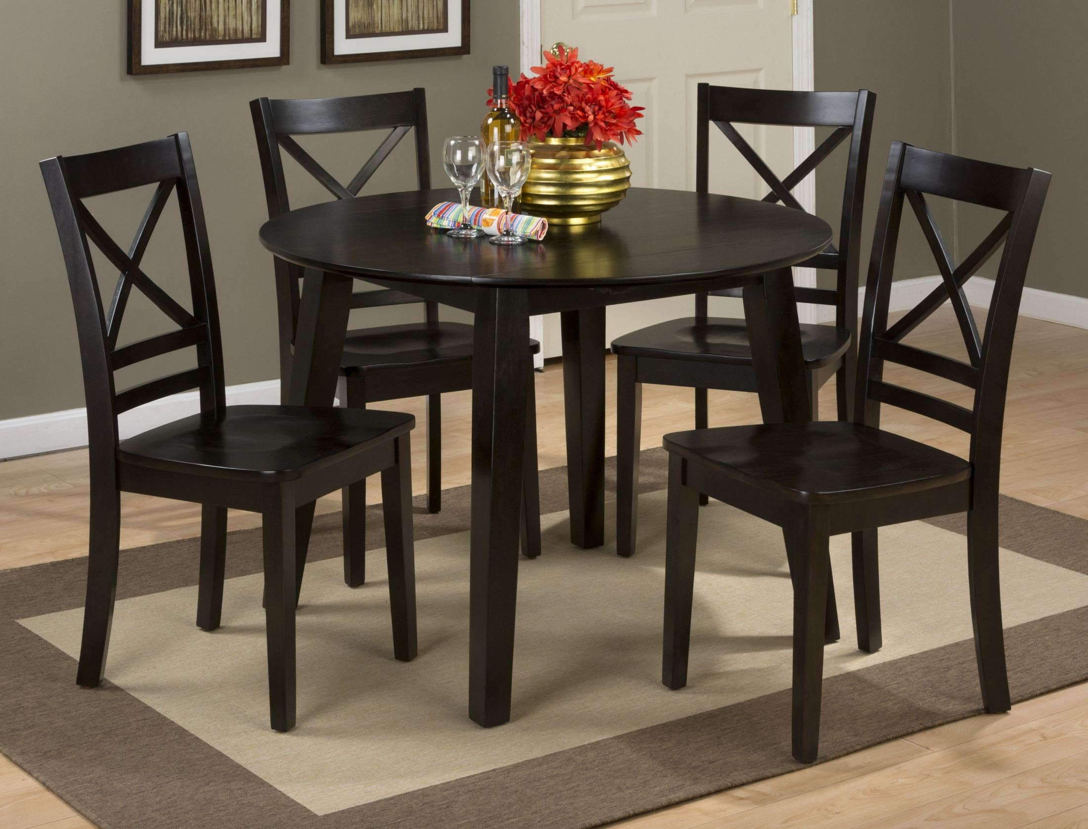 simplicity espresso extendable round drop leaf dining room set from jofran coleman furniture. Black Bedroom Furniture Sets. Home Design Ideas