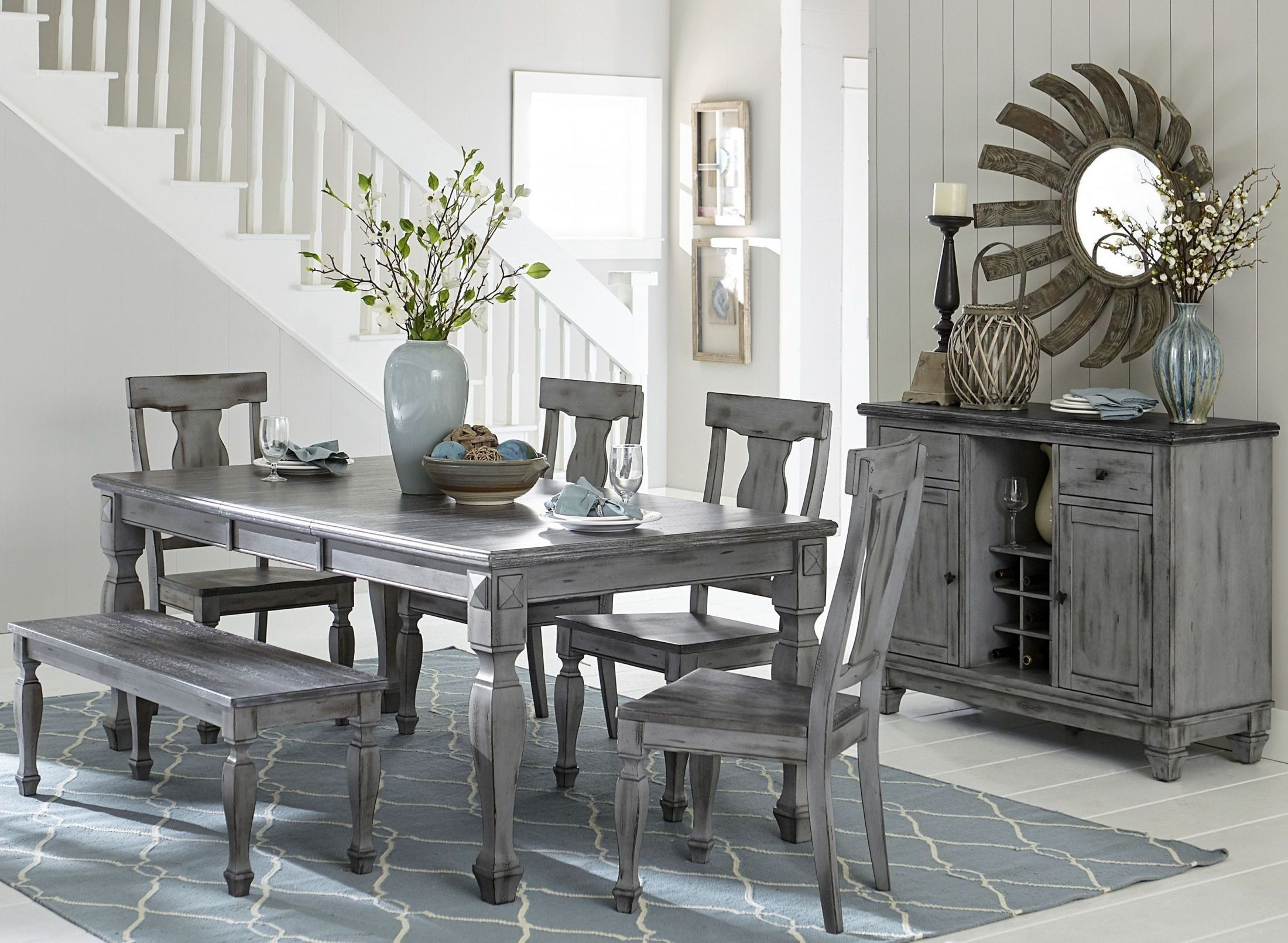 Fulbright Gray Rub Through Extendable Dining Room Set From Homelegance Coleman Furniture