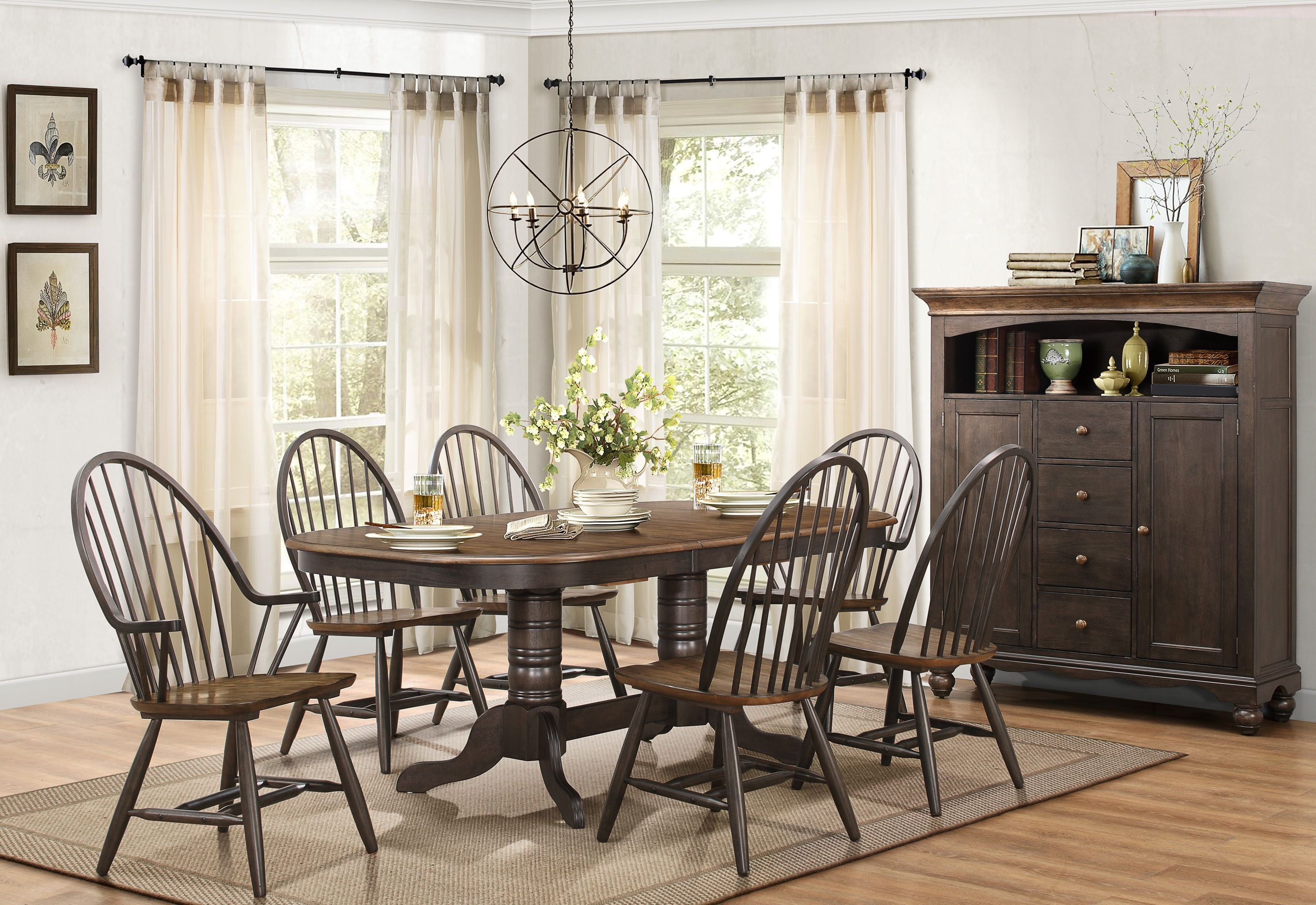 Cline two tone extendable dining room set from homelegance for 2 tone dining room sets