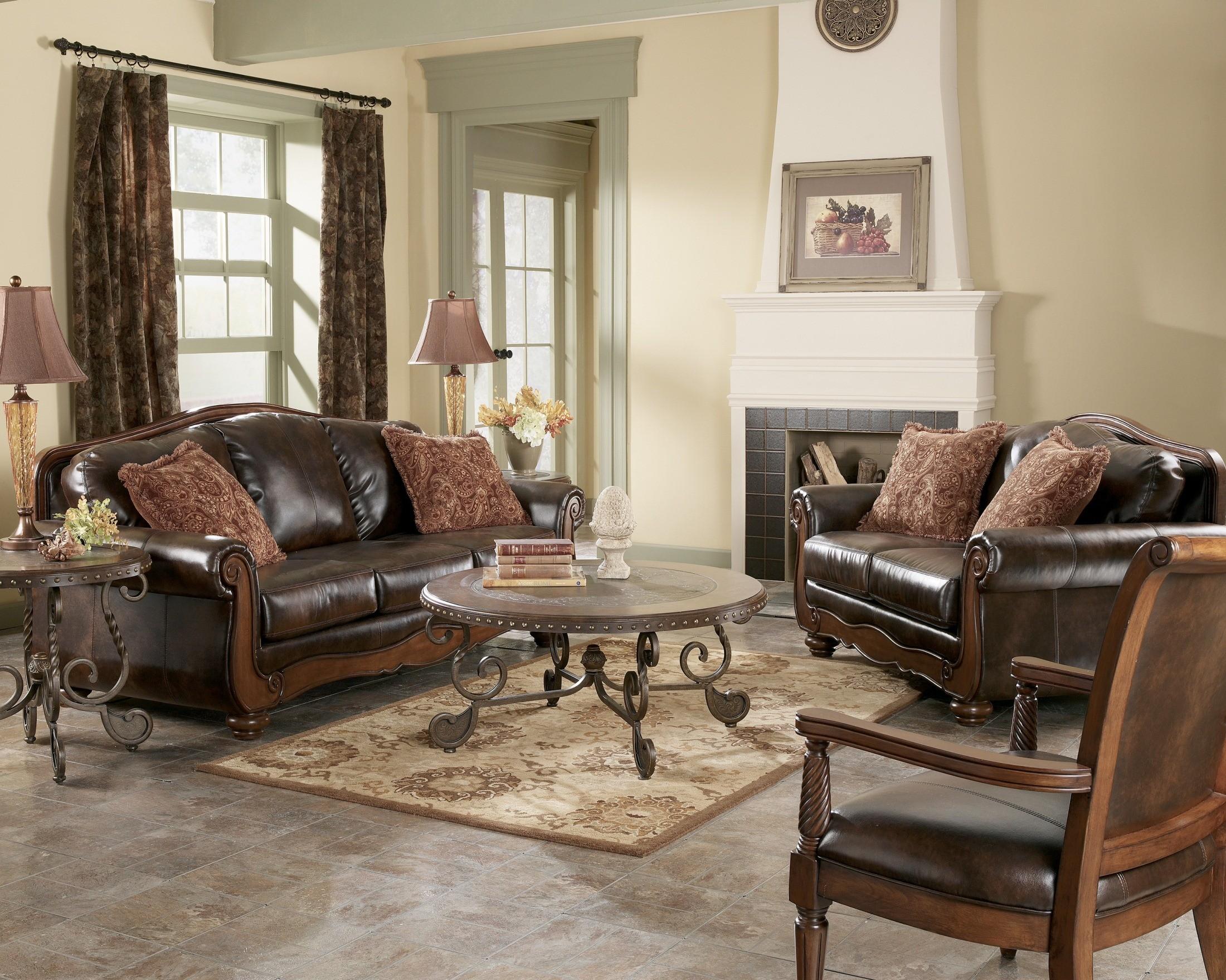 barcelona antique living room set from ashley 55300 coleman furniture. Black Bedroom Furniture Sets. Home Design Ideas