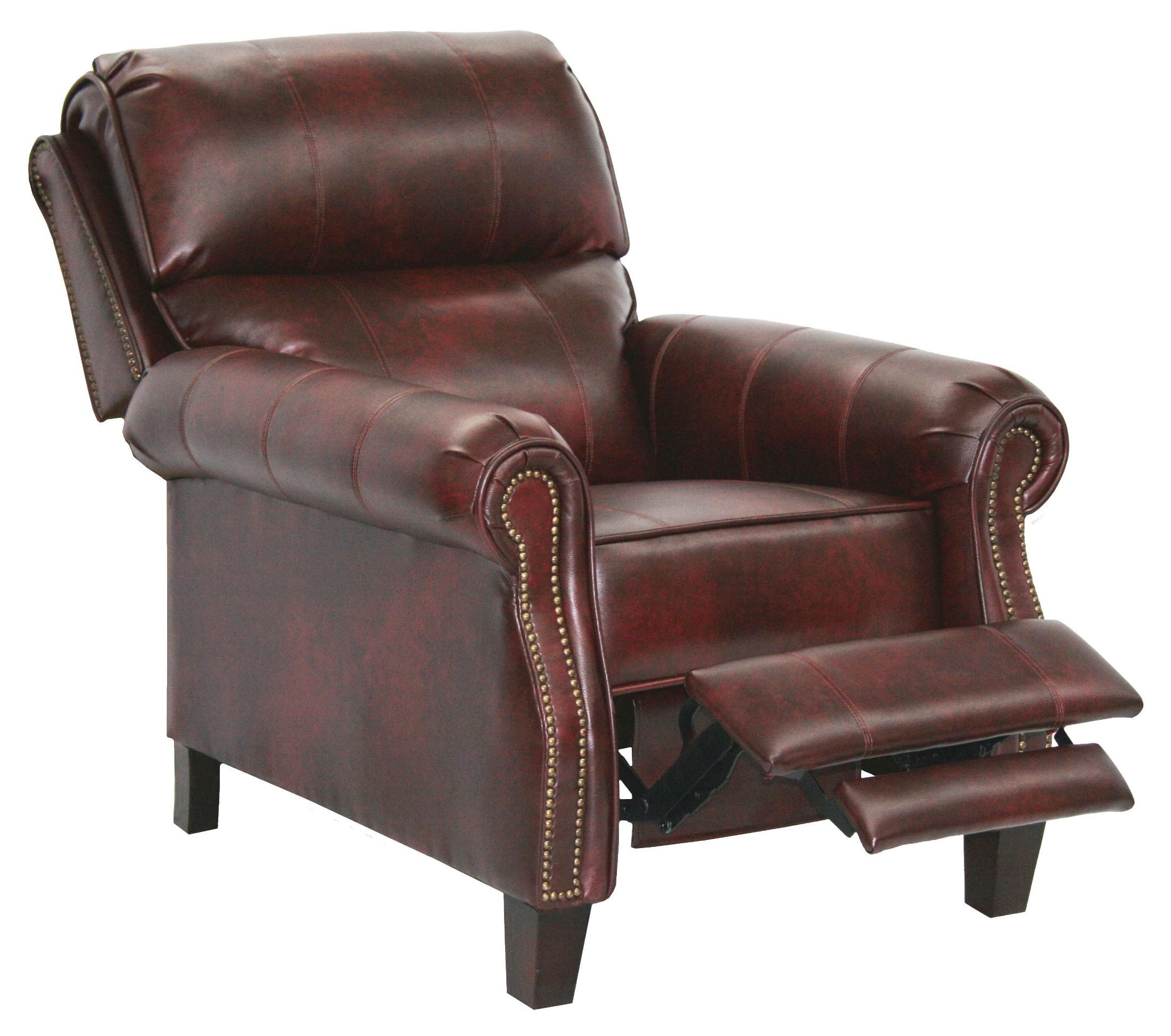 Frazier bourbon bonded leather reclining chair from for Catnapper cloud nine chaise recliner