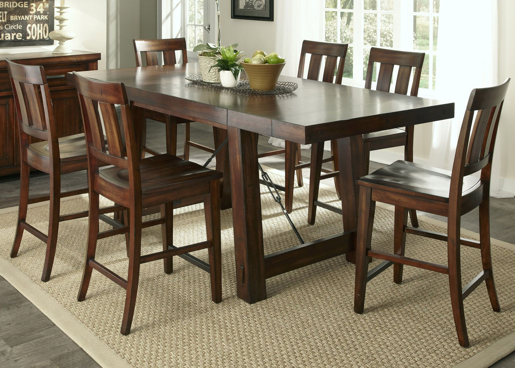 Tahoe Mahogany Stain Gathering Dining Room Set From