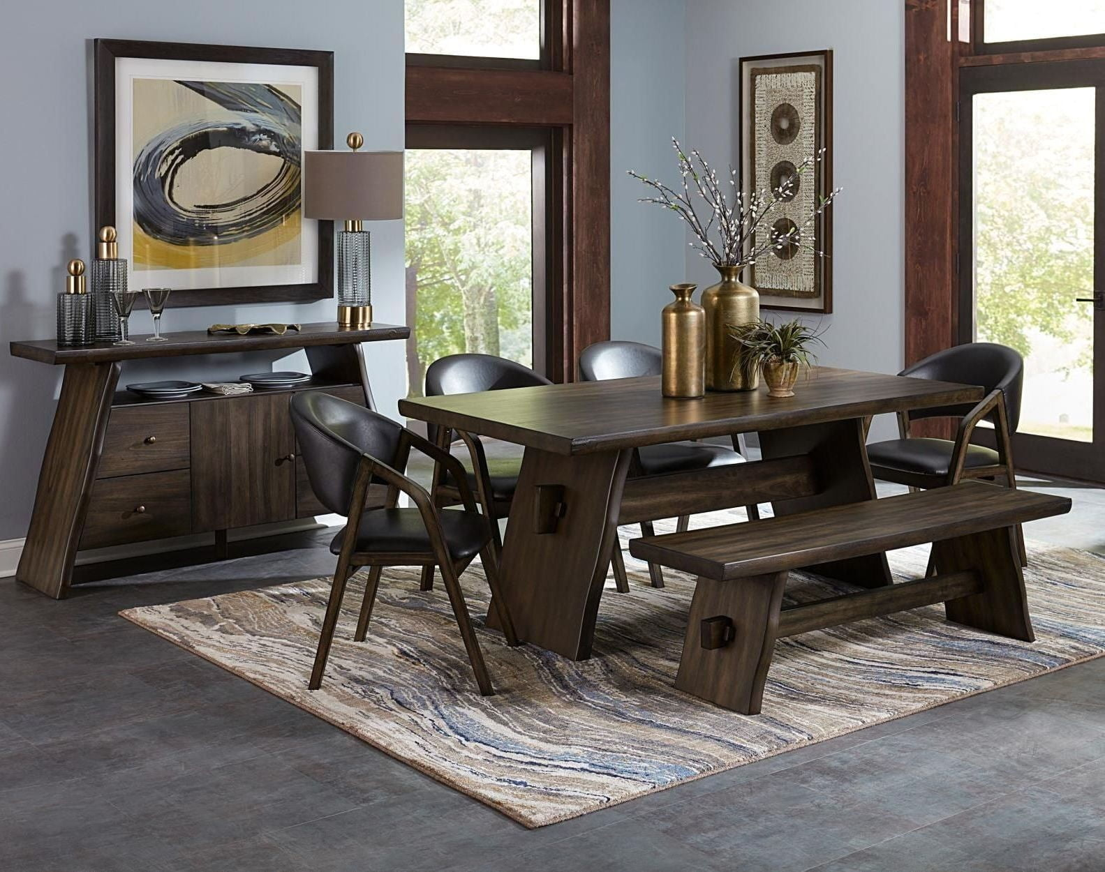 cabezon live edge rectangular dining room set from homelegance